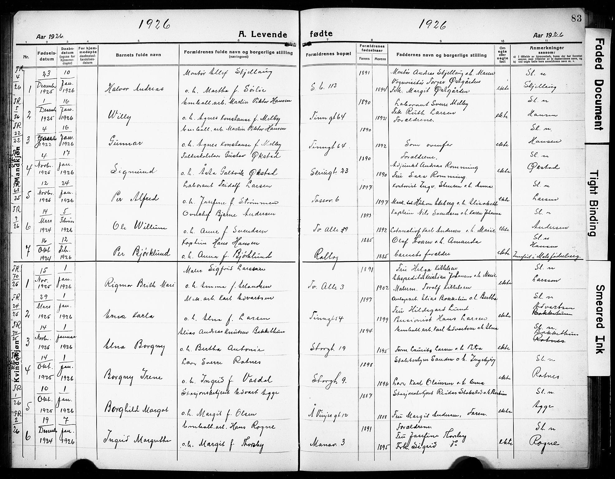 SAKO, Rjukan kirkebøker, G/Ga/L0003: Klokkerbok nr. 3, 1920-1928, s. 83