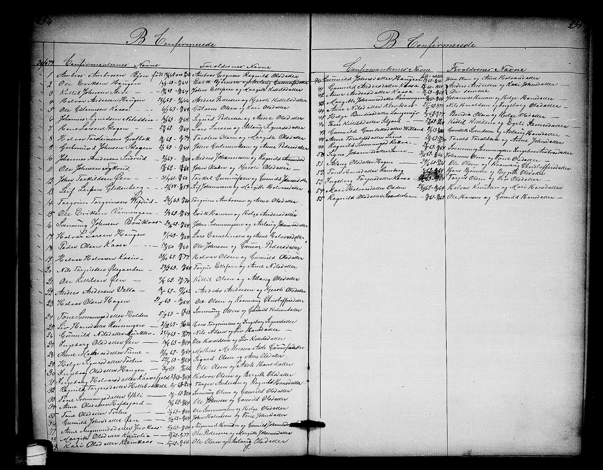 SAKO, Heddal kirkebøker, G/Ga/L0001: Klokkerbok nr. I 1, 1866-1878, s. 254-255