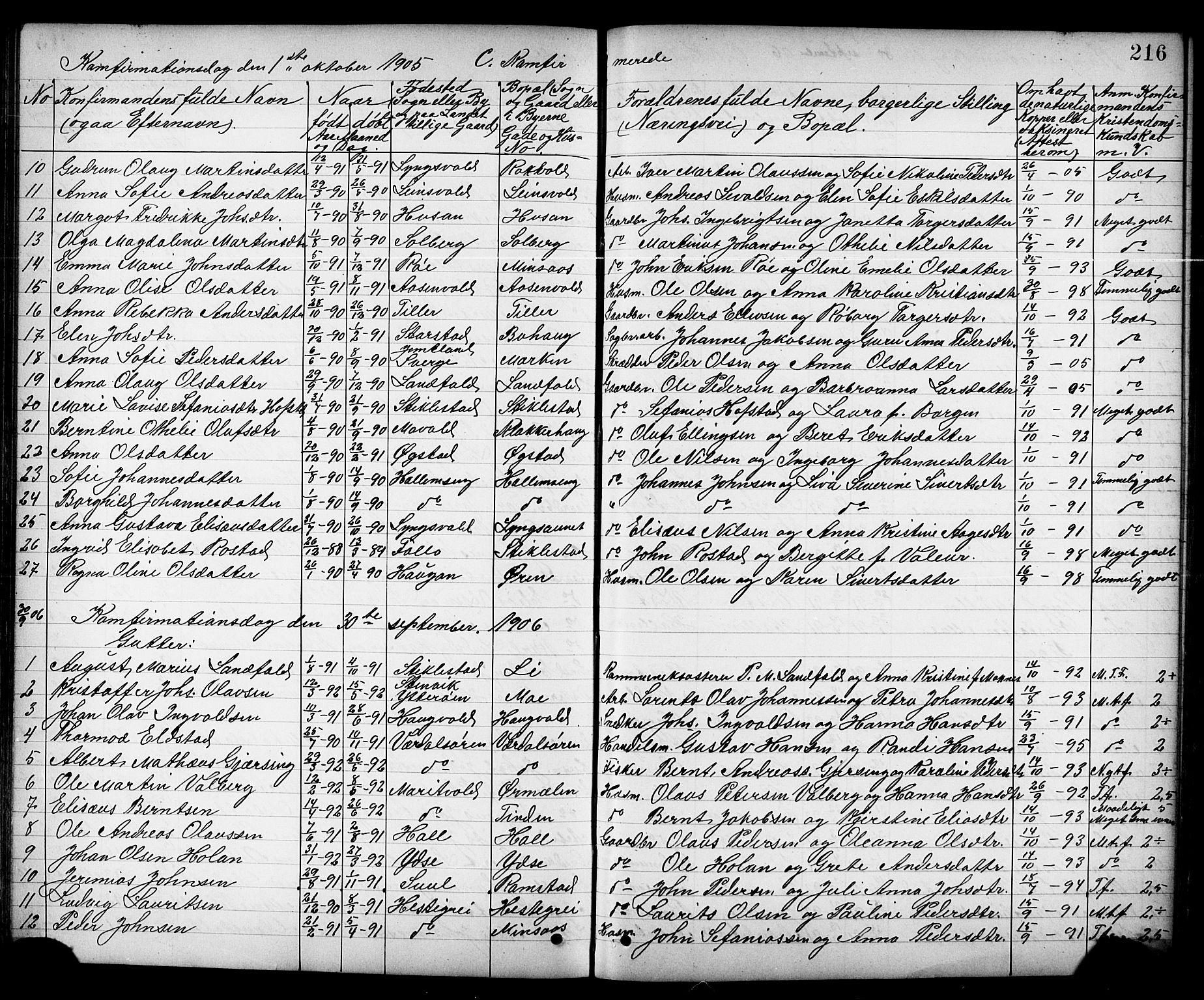 SAT, Ministerialprotokoller, klokkerbøker og fødselsregistre - Nord-Trøndelag, 723/L0257: Klokkerbok nr. 723C05, 1890-1907, s. 216
