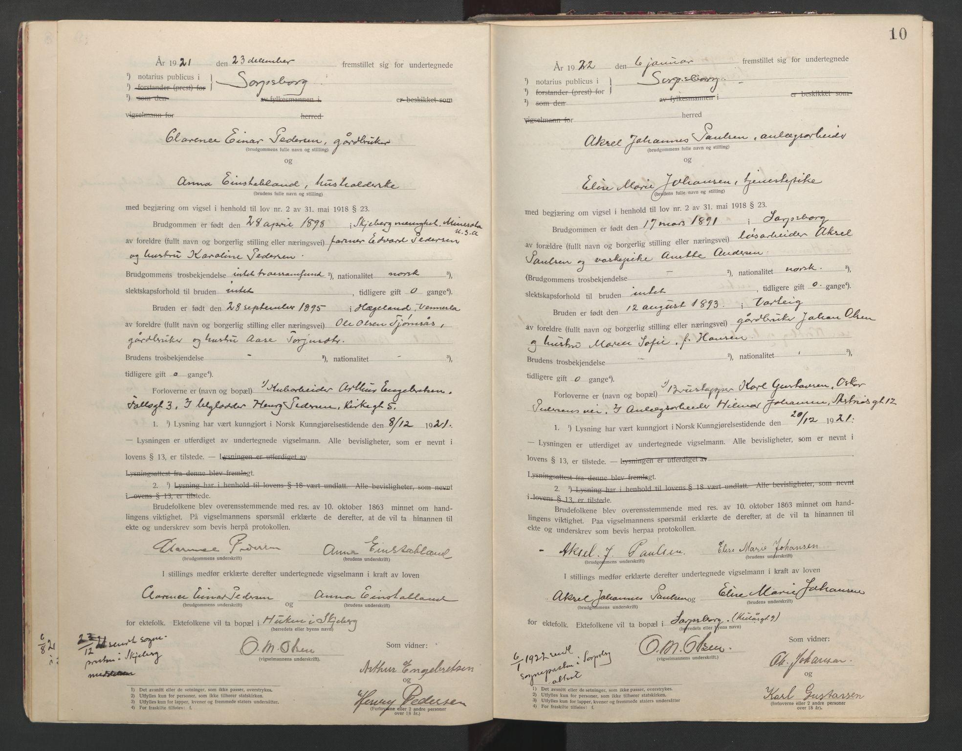 SAO, Sarpsborg byfogd, L/Lb/Lba/L0001: Vigselbok, 1920-1941, s. 10