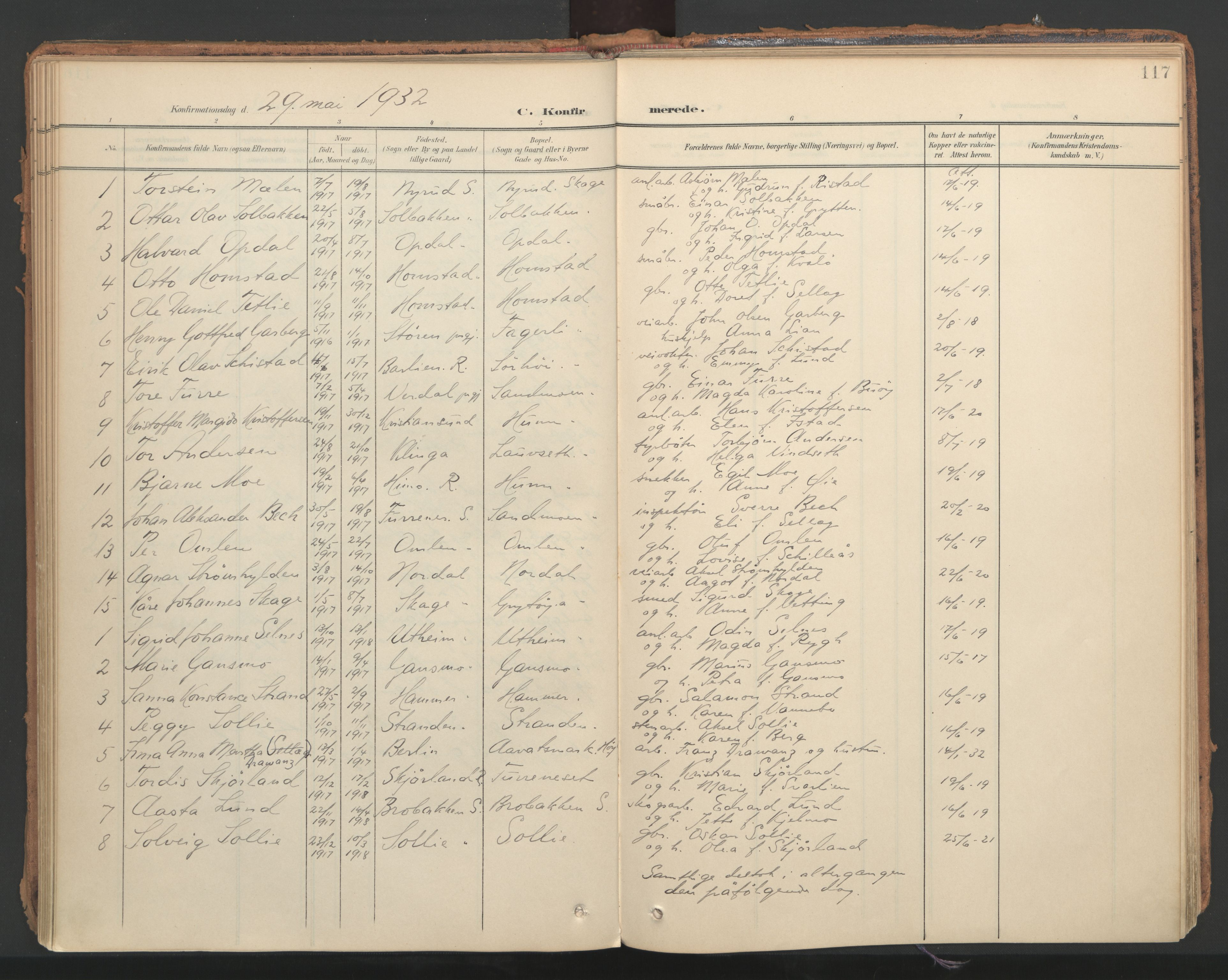 SAT, Ministerialprotokoller, klokkerbøker og fødselsregistre - Nord-Trøndelag, 766/L0564: Ministerialbok nr. 767A02, 1900-1932, s. 117