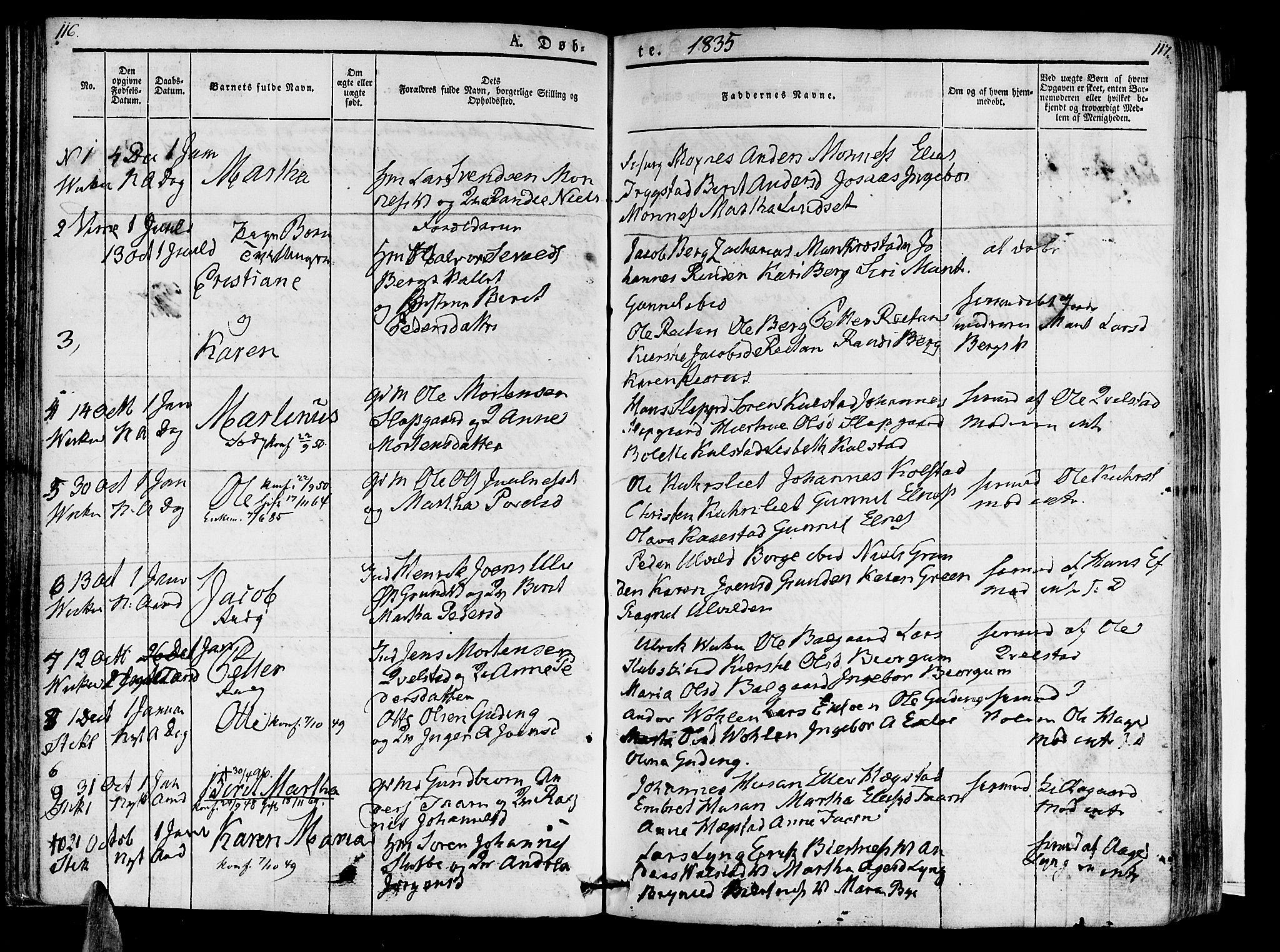 SAT, Ministerialprotokoller, klokkerbøker og fødselsregistre - Nord-Trøndelag, 723/L0238: Ministerialbok nr. 723A07, 1831-1840, s. 116-117