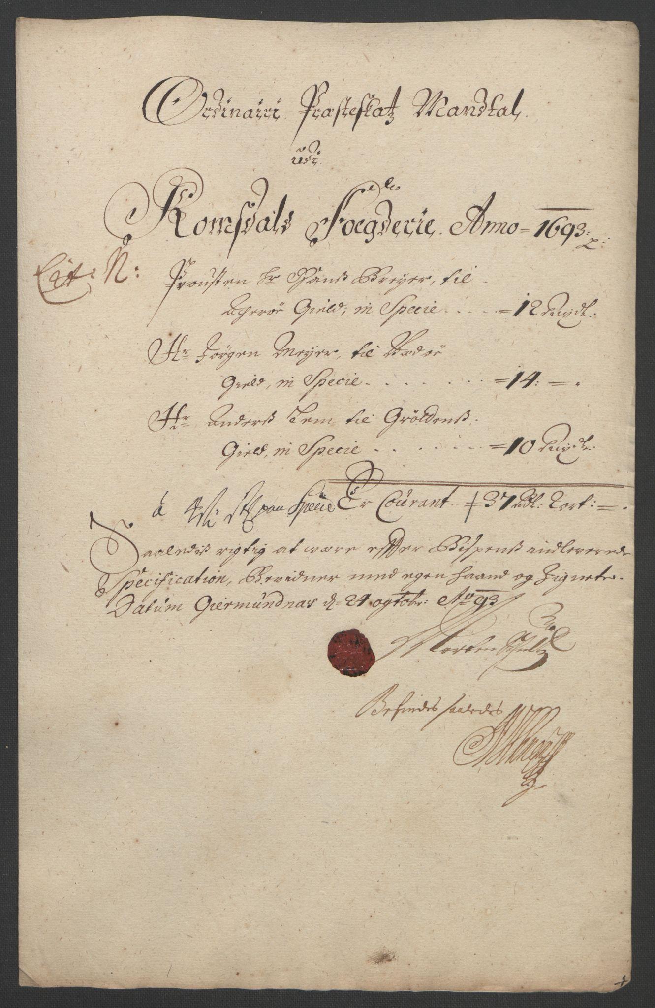 RA, Rentekammeret inntil 1814, Reviderte regnskaper, Fogderegnskap, R55/L3651: Fogderegnskap Romsdal, 1693-1694, s. 128