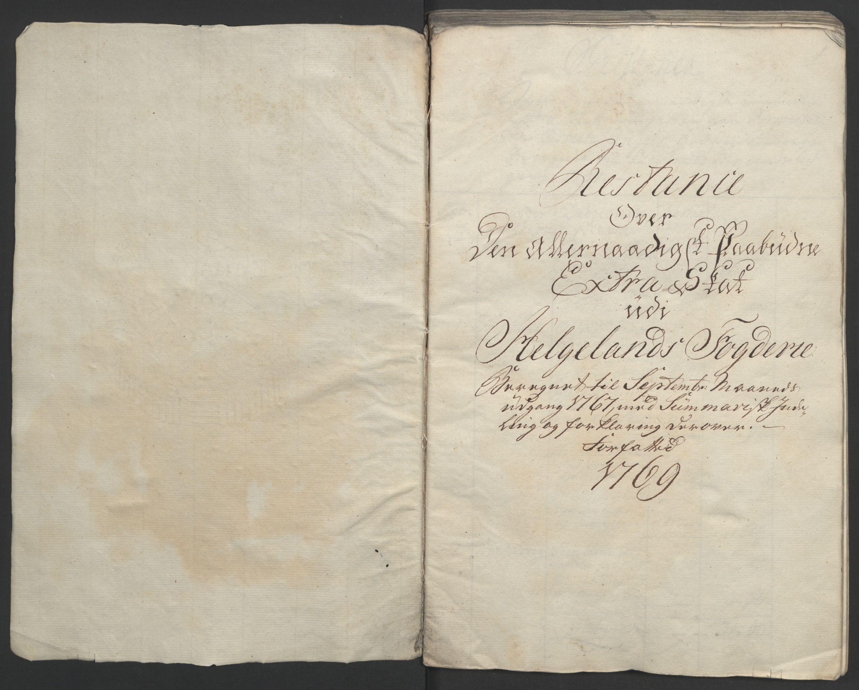 RA, Rentekammeret inntil 1814, Realistisk ordnet avdeling, Ol/L0023: [Gg 10]: Ekstraskatten, 23.09.1762. Helgeland (restanseregister), 1767-1772, s. 2