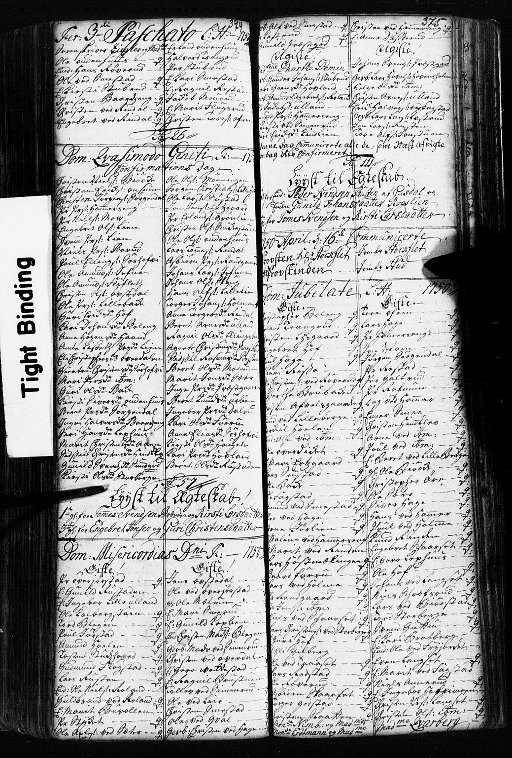 SAH, Fåberg prestekontor, Klokkerbok nr. 2, 1741-1756, s. 374-375