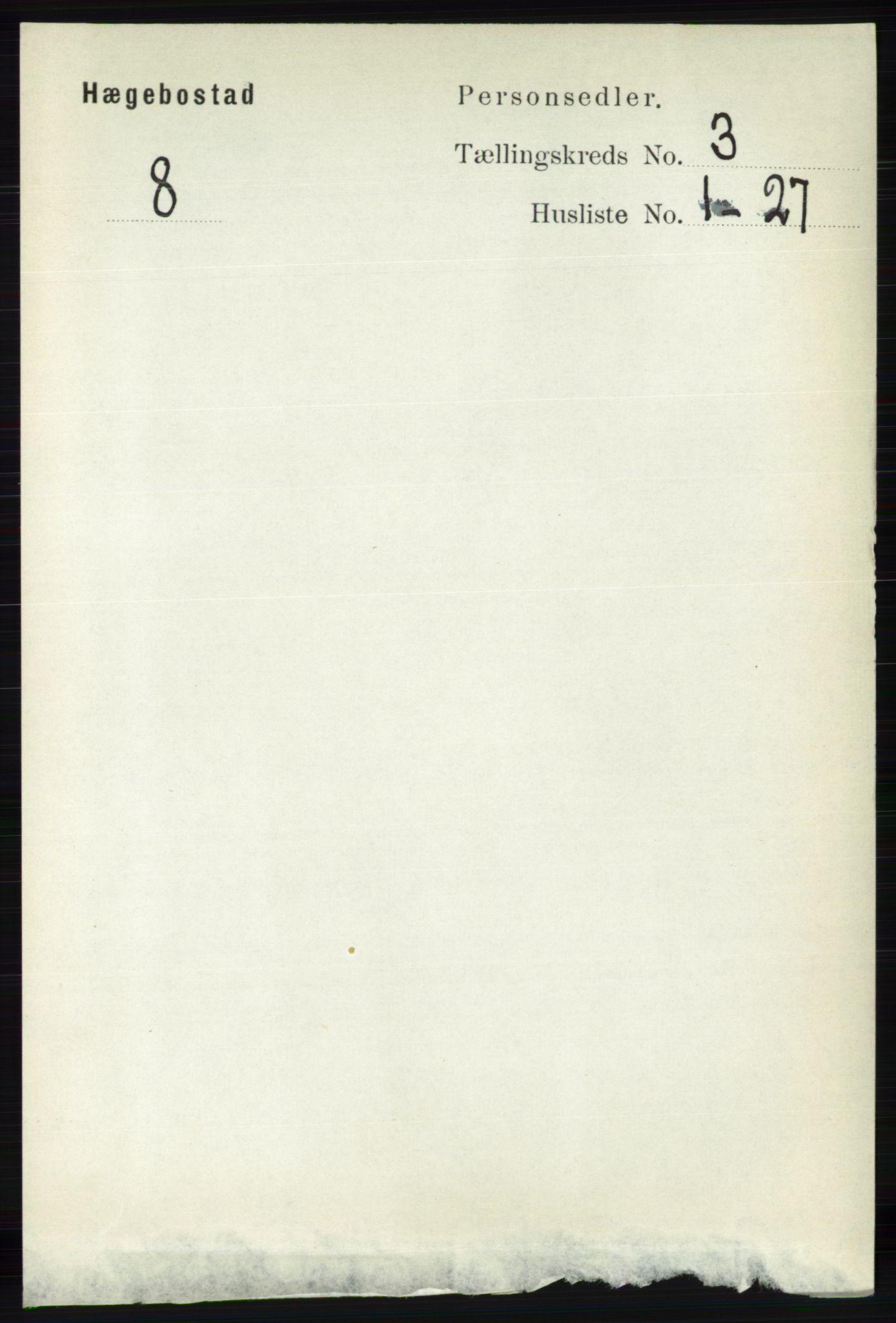 RA, Folketelling 1891 for 1034 Hægebostad herred, 1891, s. 875