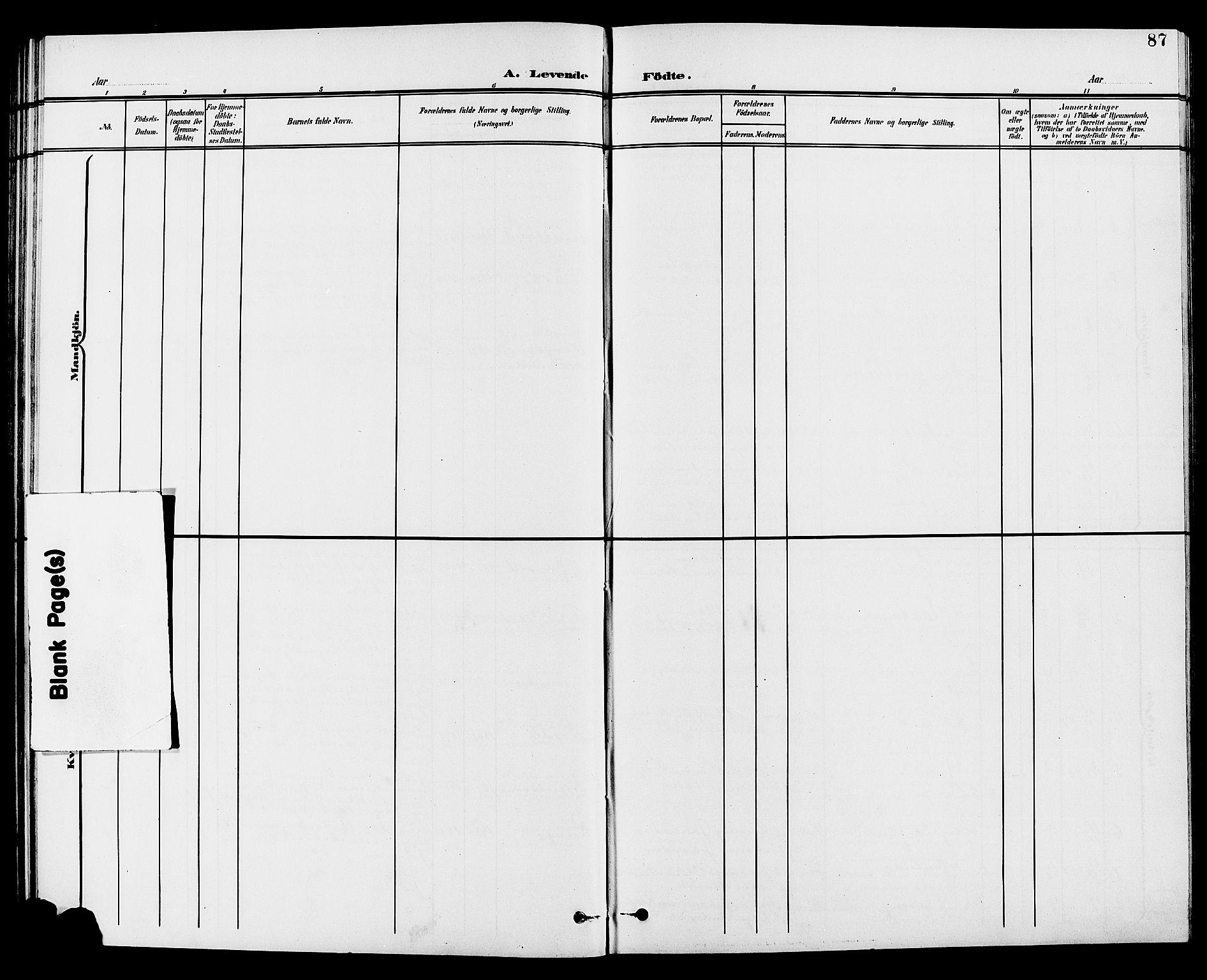 SAH, Vestre Toten prestekontor, H/Ha/Hab/L0010: Klokkerbok nr. 10, 1900-1912, s. 87