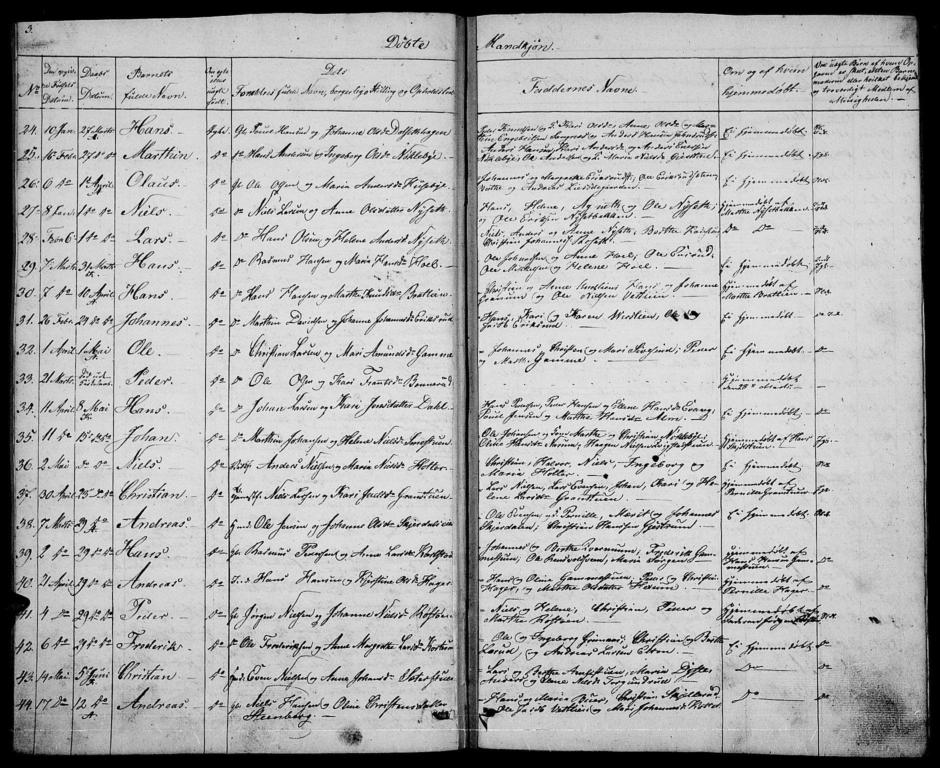 SAH, Vestre Toten prestekontor, Klokkerbok nr. 1, 1830-1836, s. 3