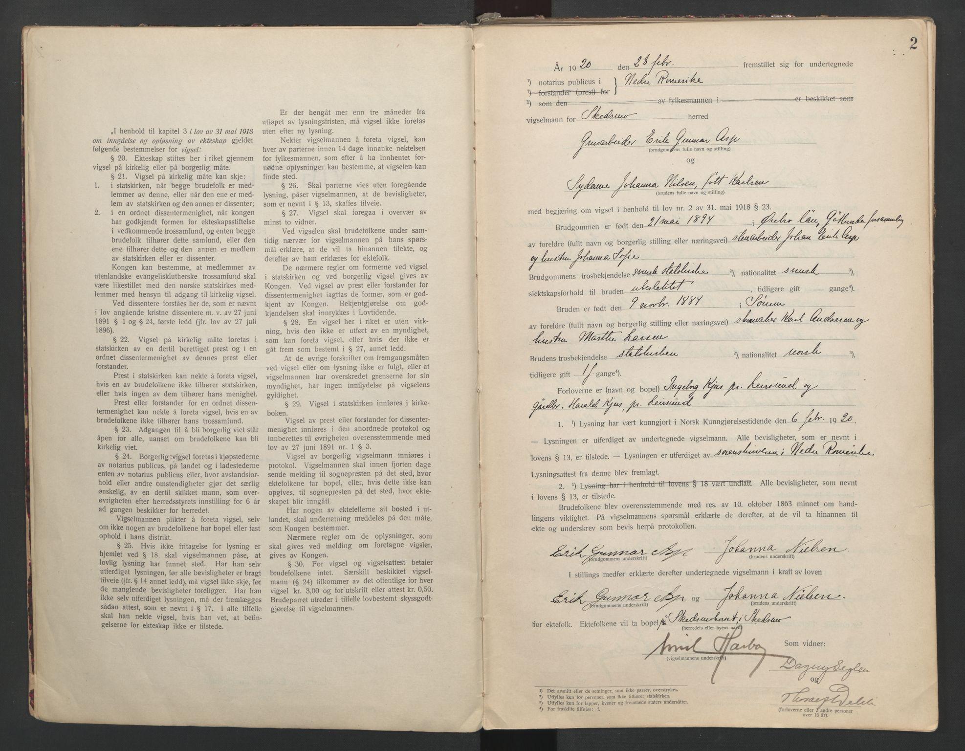 SAO, Nedre Romerike sorenskriveri, L/Lb/L0001: Vigselsbok - borgerlige vielser, 1920-1935, s. 2