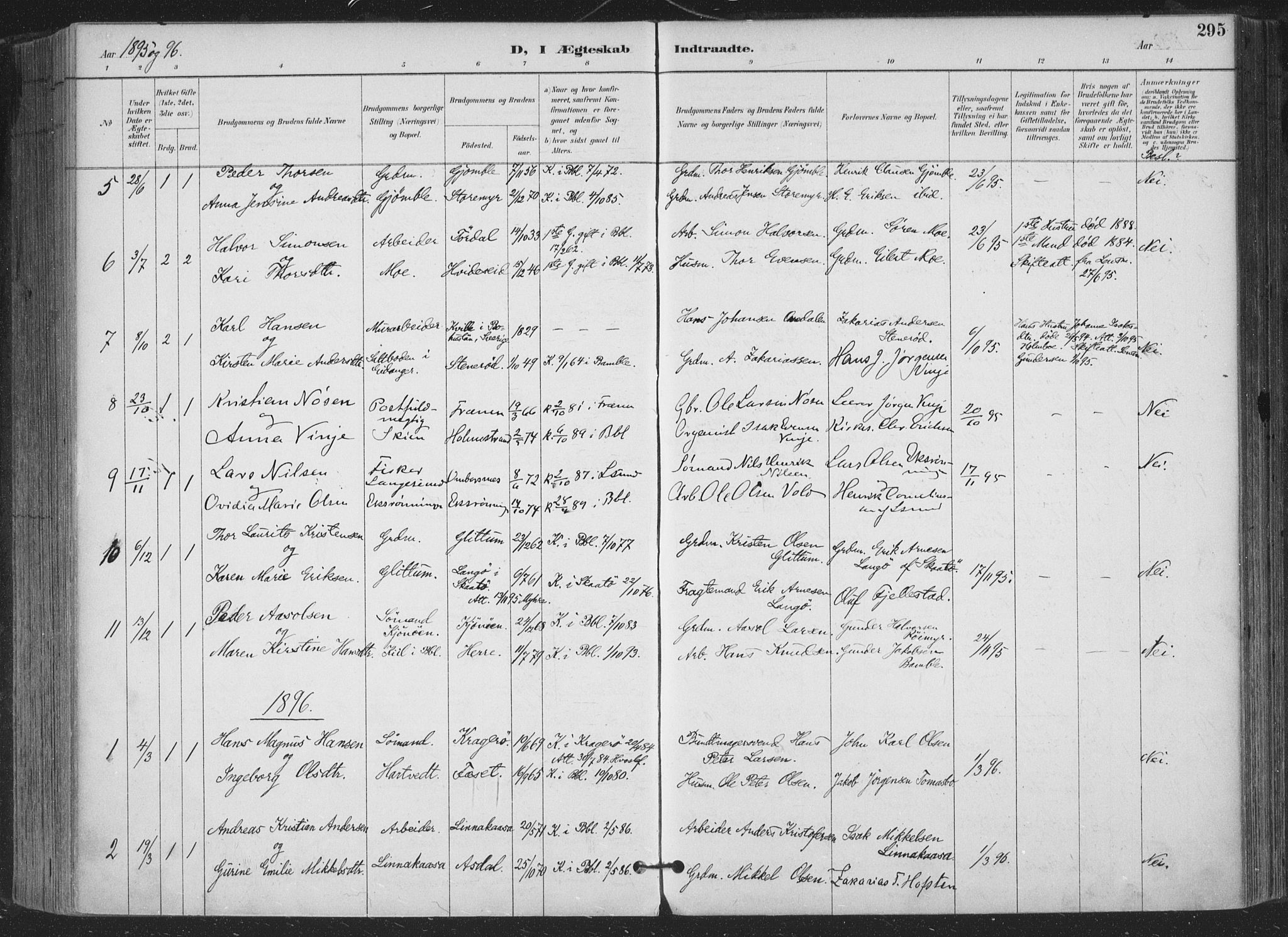 SAKO, Bamble kirkebøker, F/Fa/L0008: Ministerialbok nr. I 8, 1888-1900, s. 295