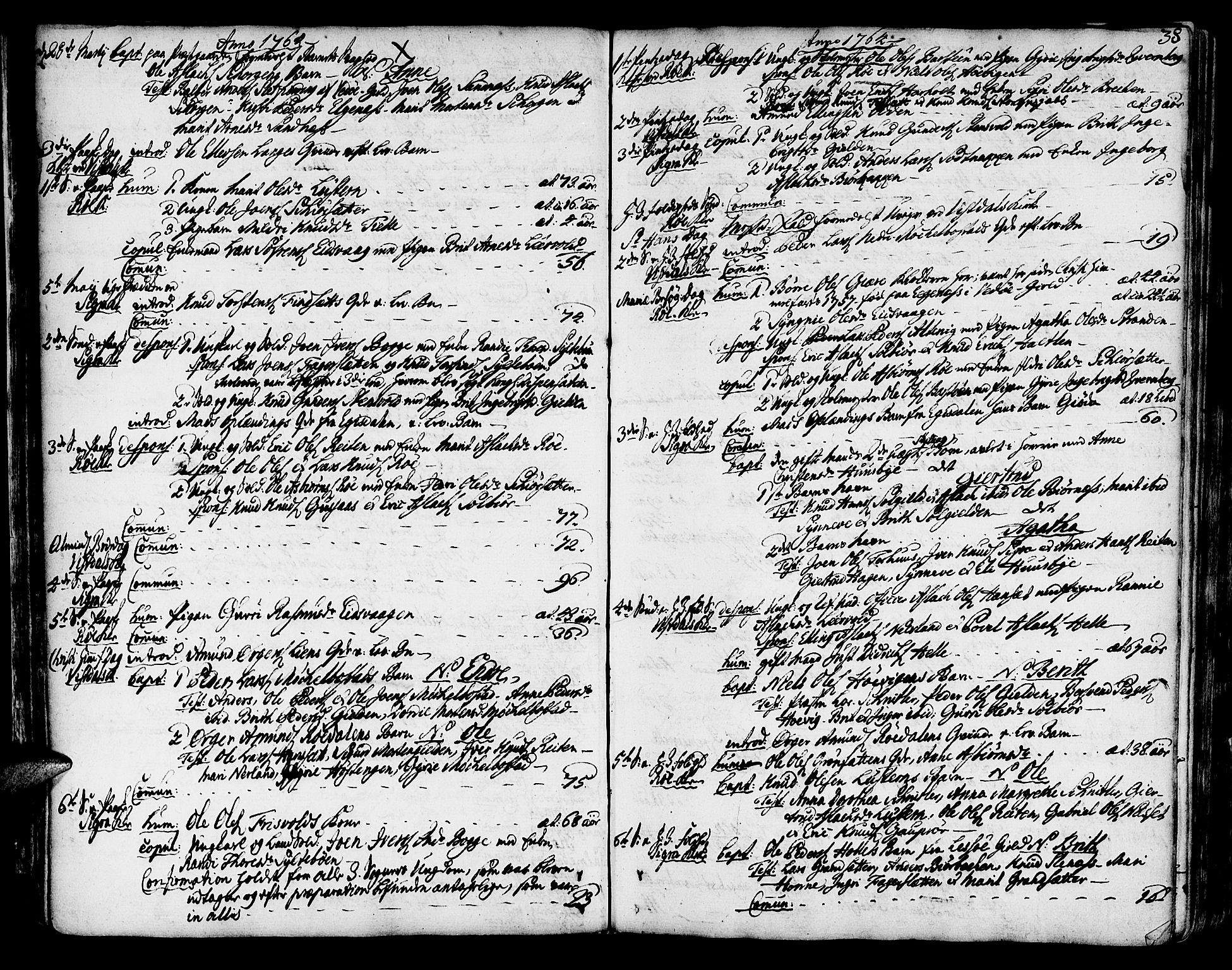 SAT, Ministerialprotokoller, klokkerbøker og fødselsregistre - Møre og Romsdal, 551/L0621: Ministerialbok nr. 551A01, 1757-1803, s. 38