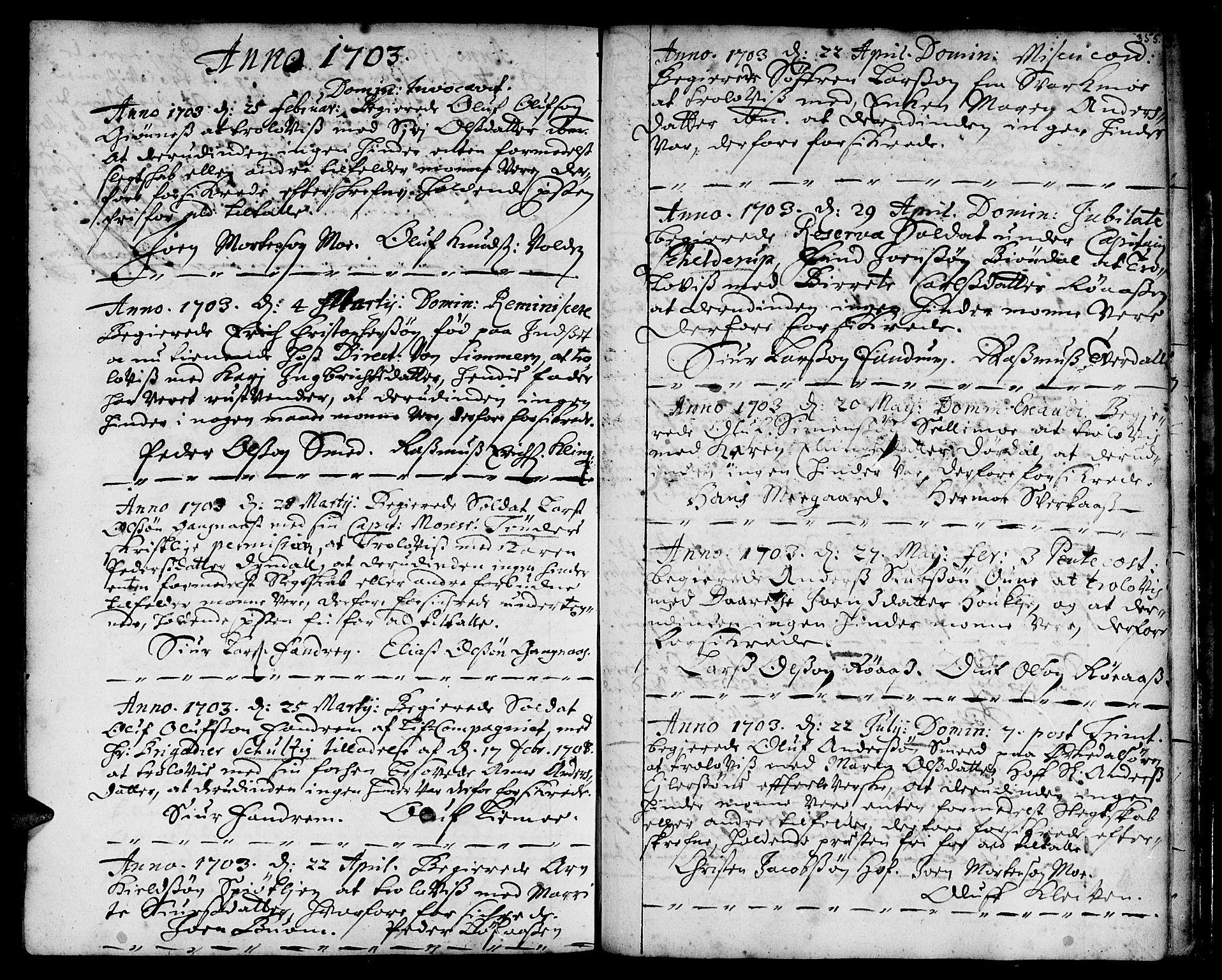 SAT, Ministerialprotokoller, klokkerbøker og fødselsregistre - Sør-Trøndelag, 668/L0801: Ministerialbok nr. 668A01, 1695-1716, s. 354-355