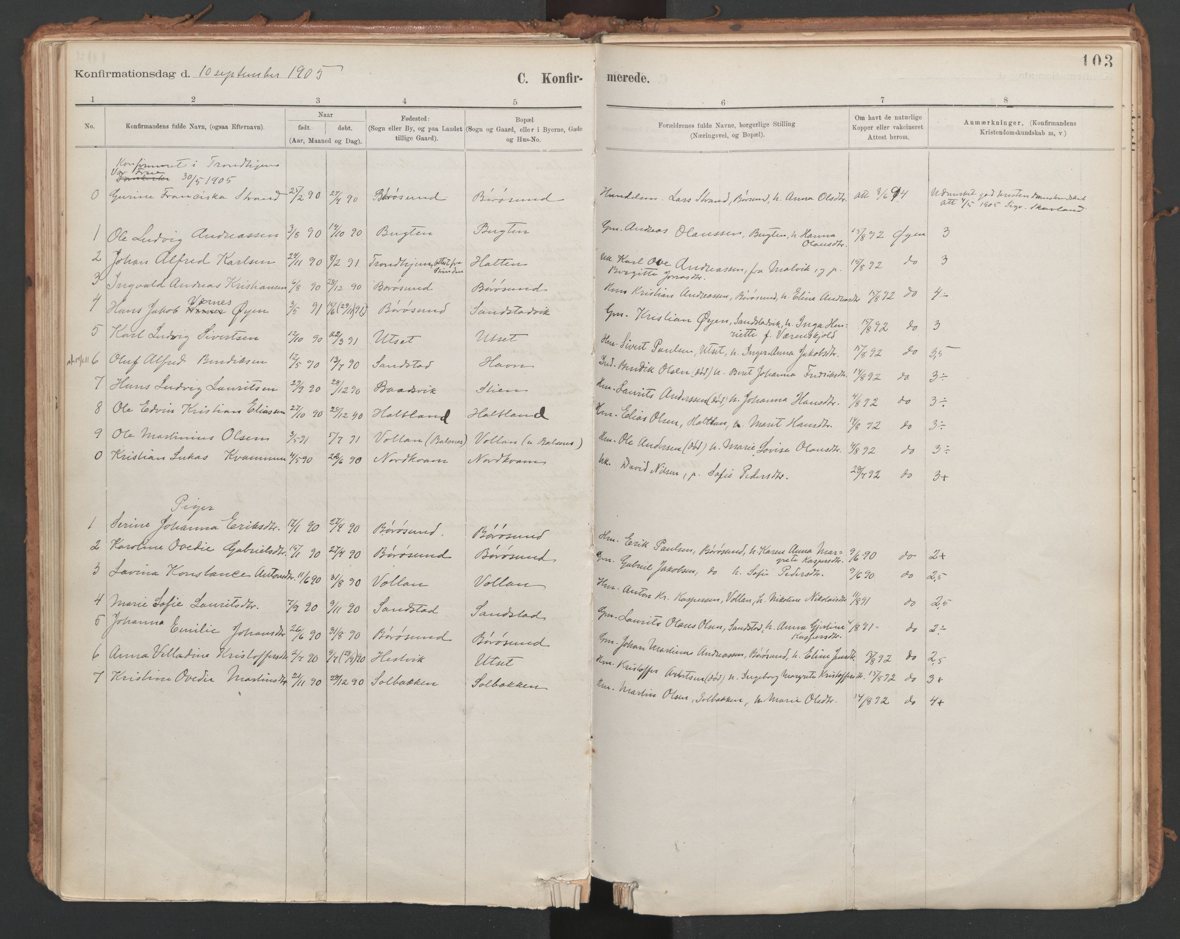 SAT, Ministerialprotokoller, klokkerbøker og fødselsregistre - Sør-Trøndelag, 639/L0572: Ministerialbok nr. 639A01, 1890-1920, s. 103