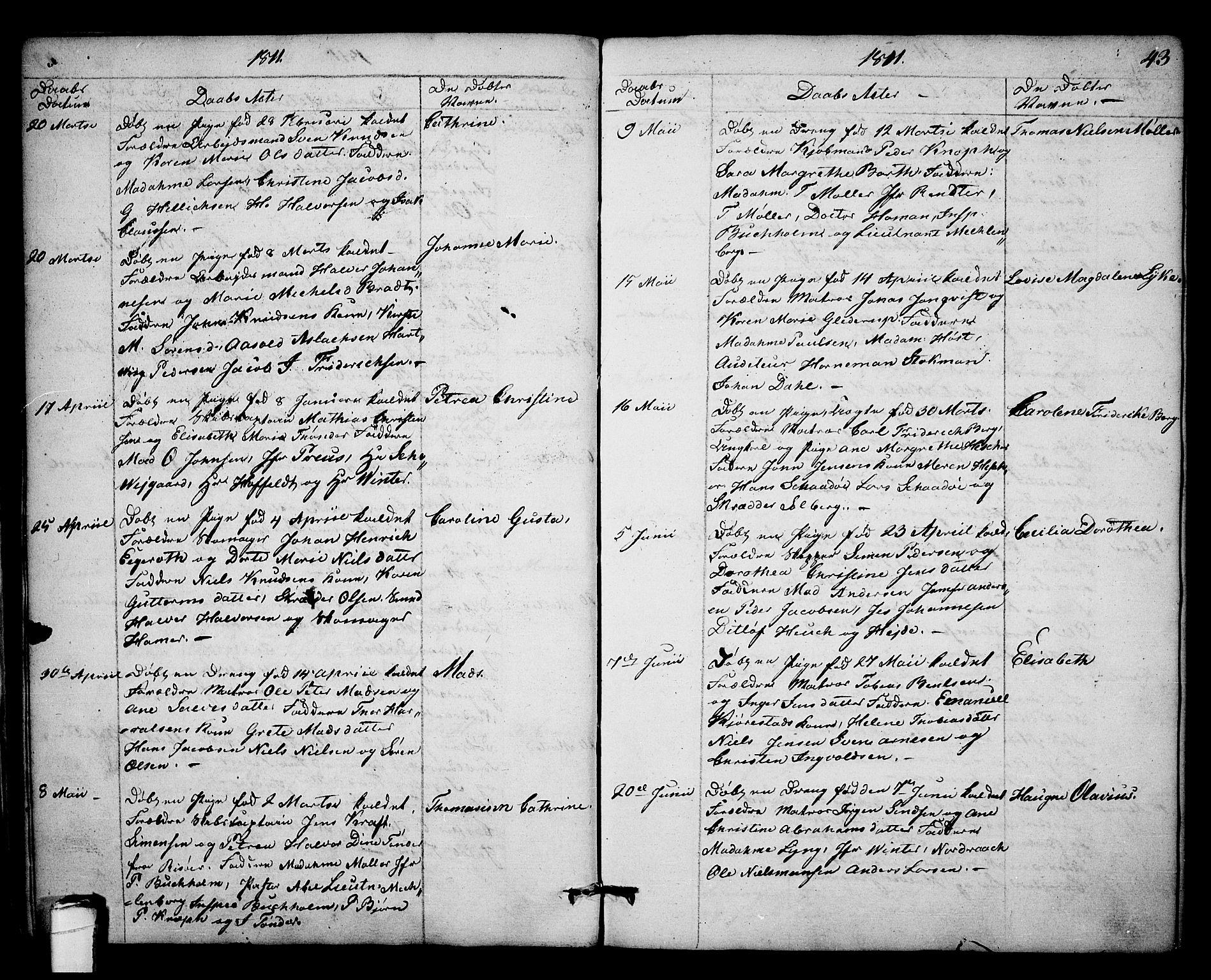 SAKO, Kragerø kirkebøker, F/Fa/L0003: Ministerialbok nr. 3, 1802-1813, s. 43