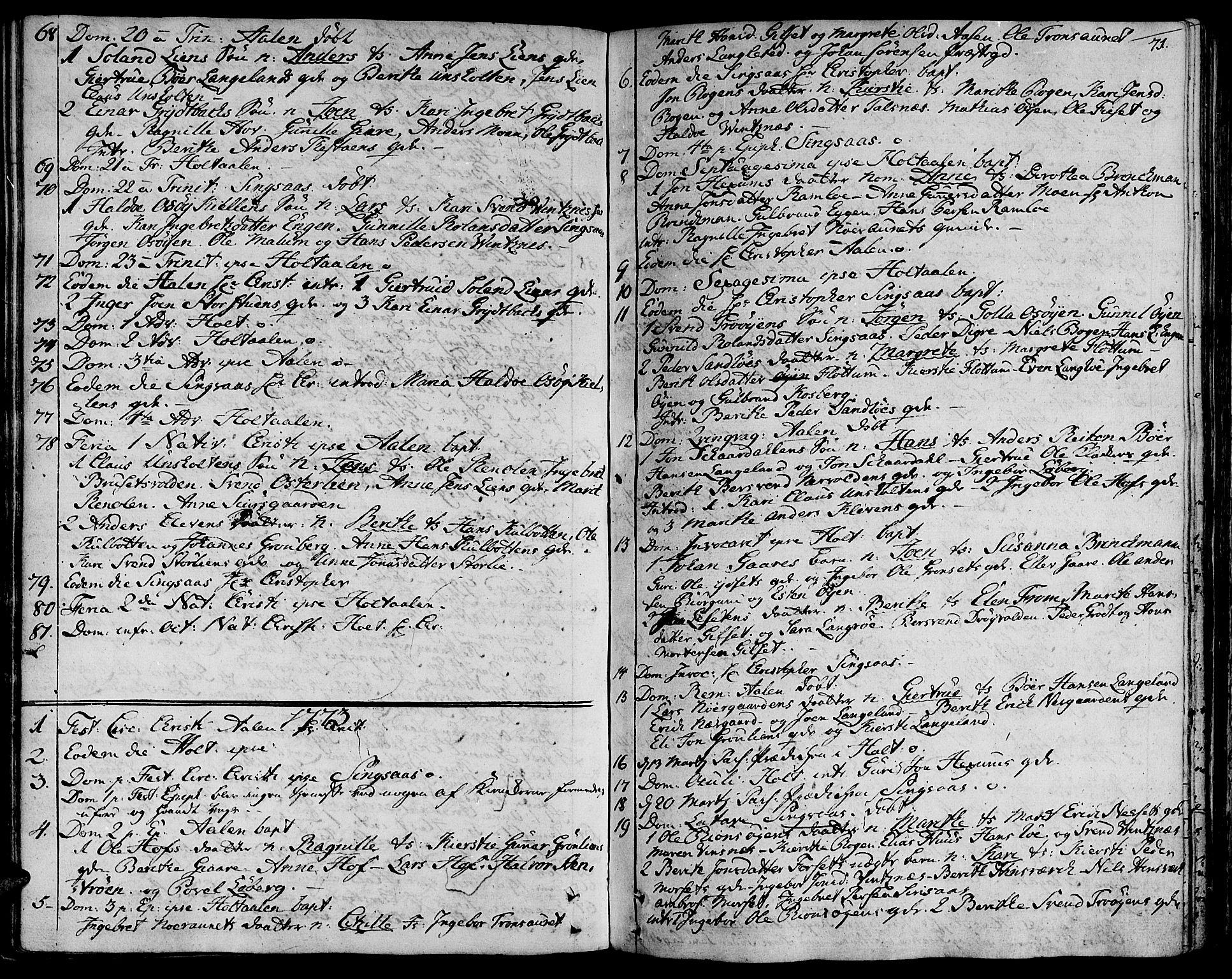 SAT, Ministerialprotokoller, klokkerbøker og fødselsregistre - Sør-Trøndelag, 685/L0952: Ministerialbok nr. 685A01, 1745-1804, s. 71