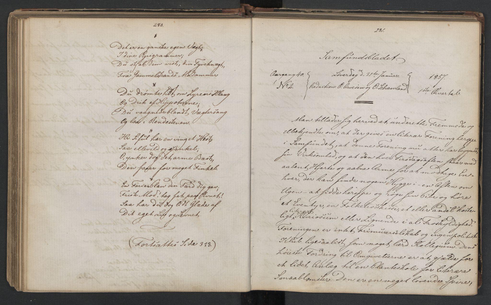 RA, Det Norske Studentersamfund, X/Xa/L0006, 1856-1857, s. 144
