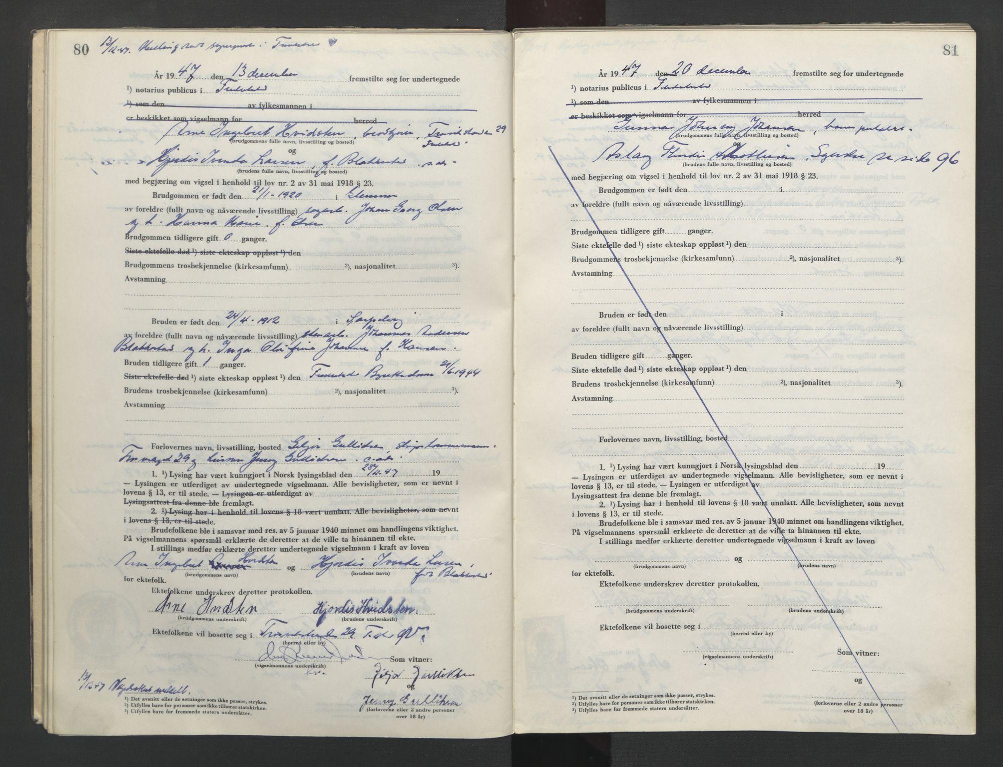 SAO, Fredrikstad byfogd, L/Lc/L0004: Vigselsbok, 1945-1953, s. 80-81