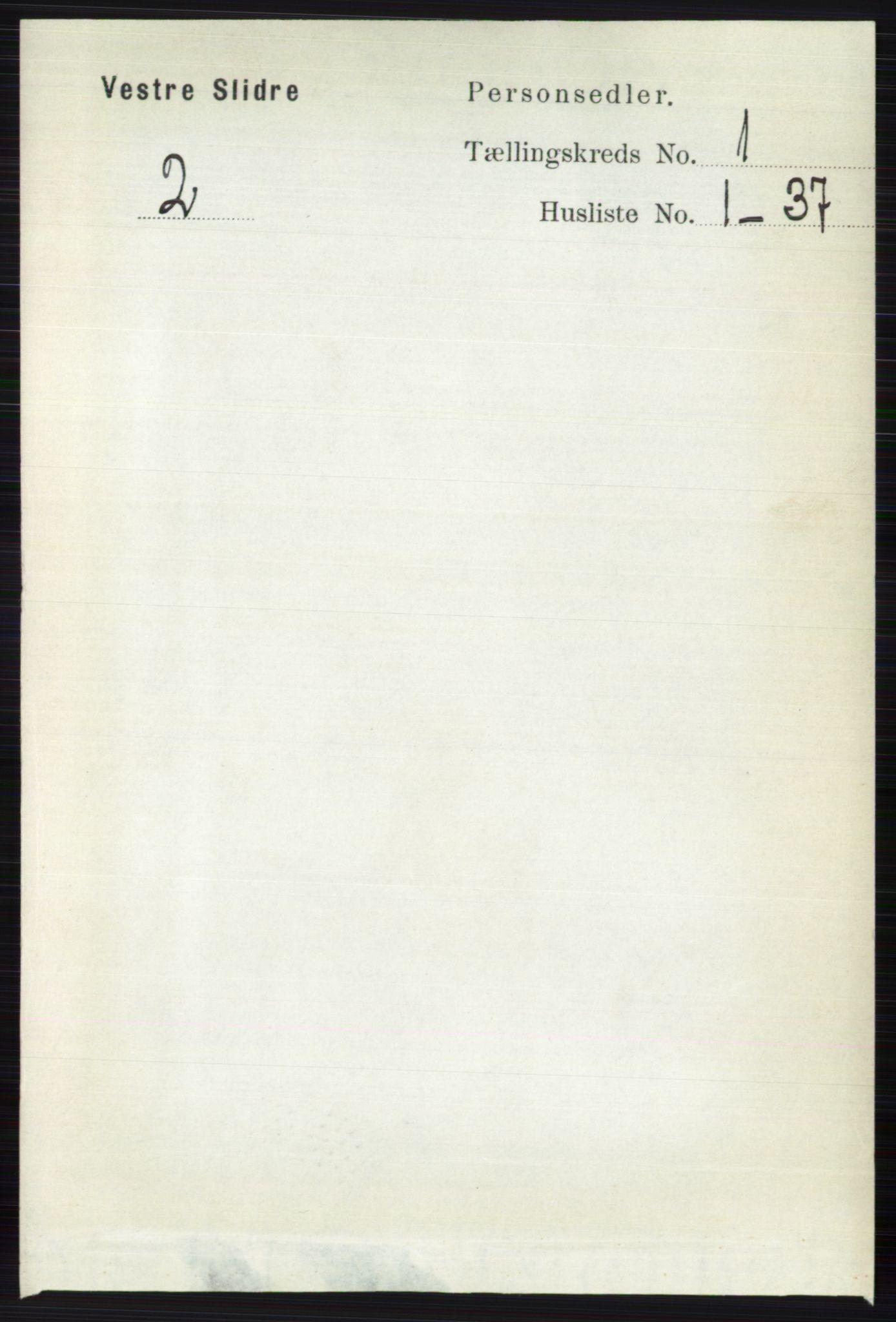 RA, Folketelling 1891 for 0543 Vestre Slidre herred, 1891, s. 98