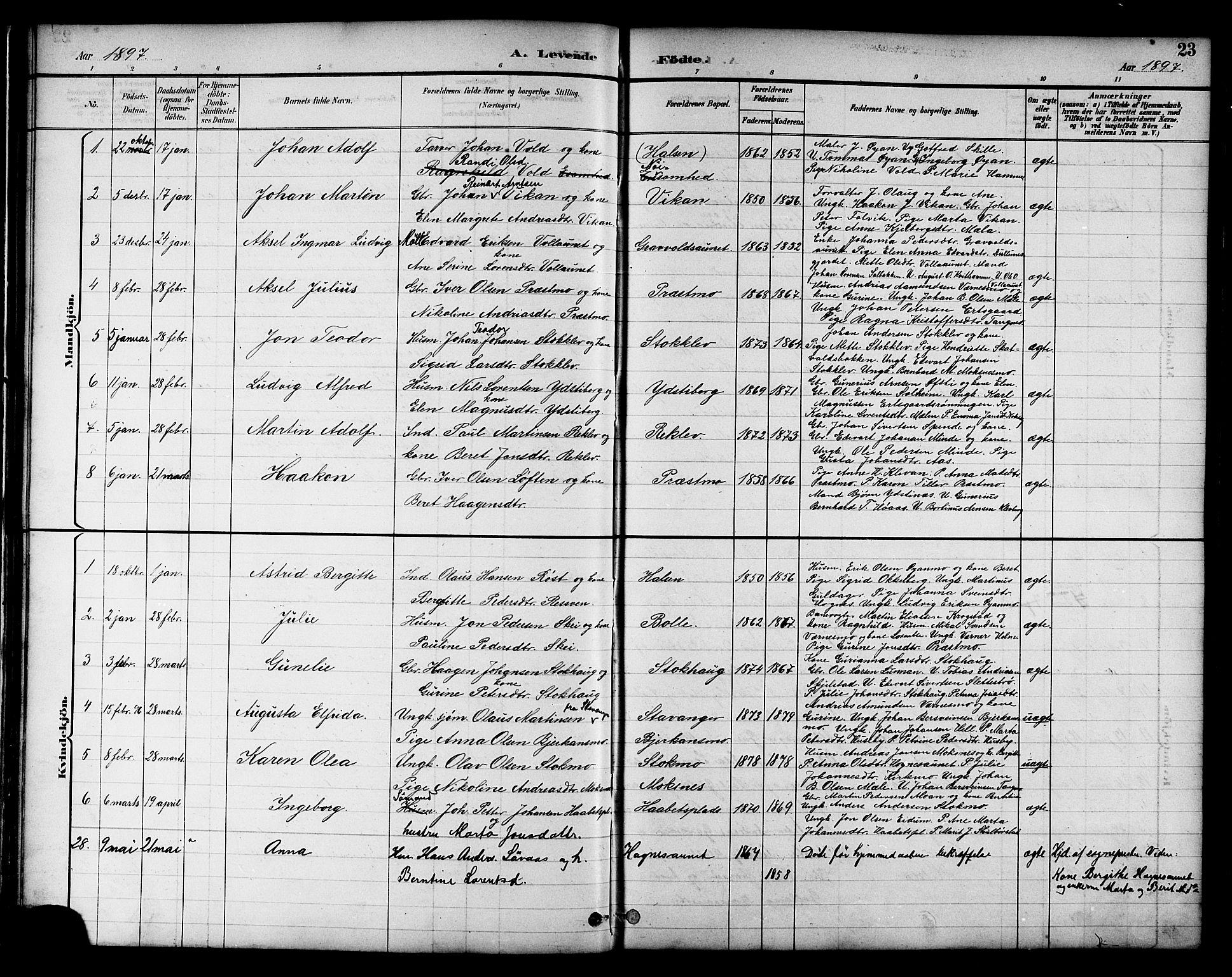 SAT, Ministerialprotokoller, klokkerbøker og fødselsregistre - Nord-Trøndelag, 709/L0087: Klokkerbok nr. 709C01, 1892-1913, s. 23