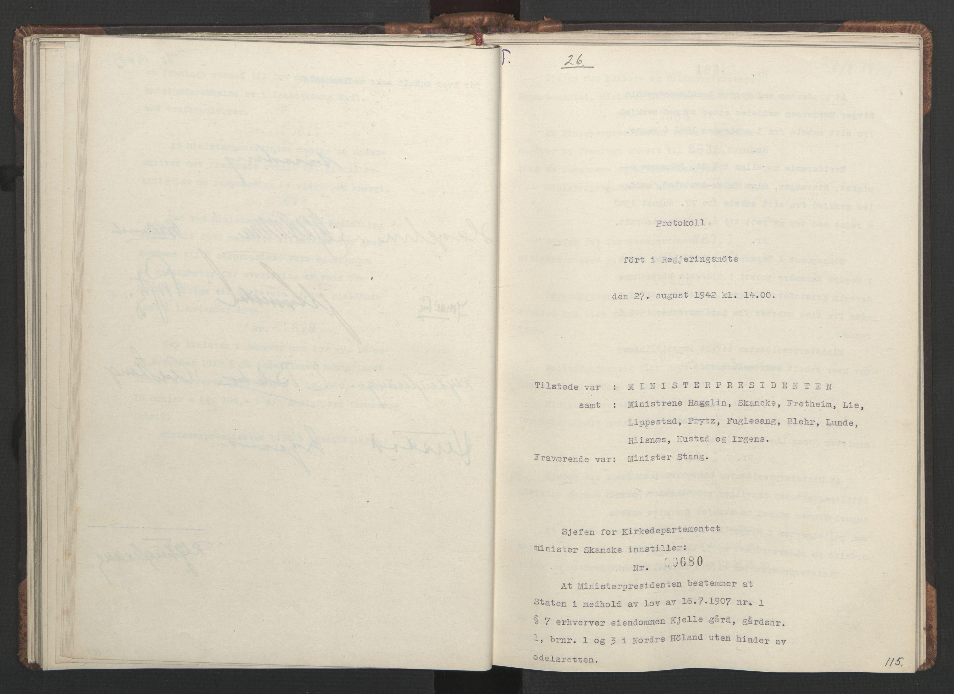 RA, NS-administrasjonen 1940-1945 (Statsrådsekretariatet, de kommisariske statsråder mm), D/Da/L0001: Beslutninger og tillegg (1-952 og 1-32), 1942, s. 114b-115a