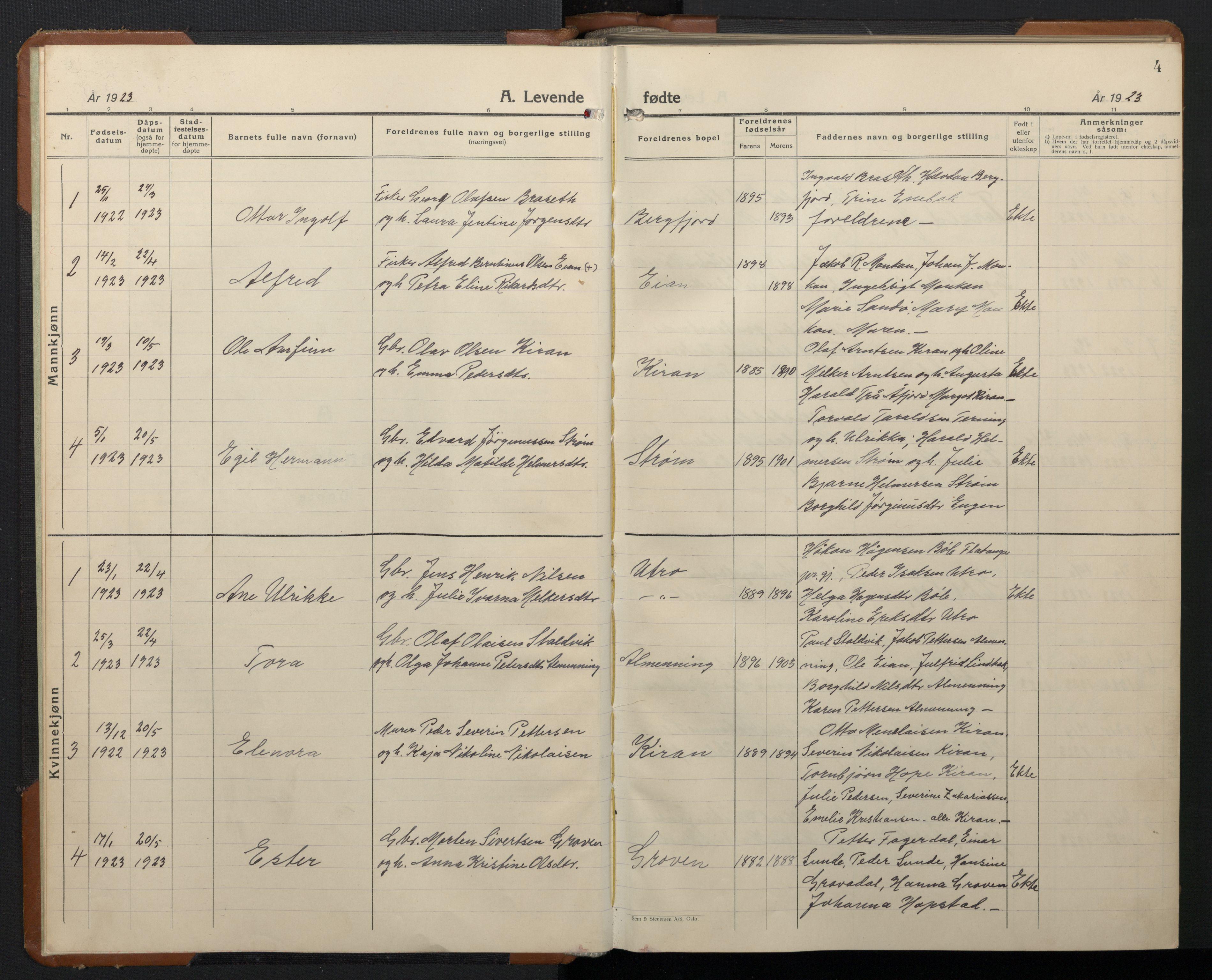SAT, Ministerialprotokoller, klokkerbøker og fødselsregistre - Sør-Trøndelag, 657/L0718: Klokkerbok nr. 657C05, 1923-1948, s. 4