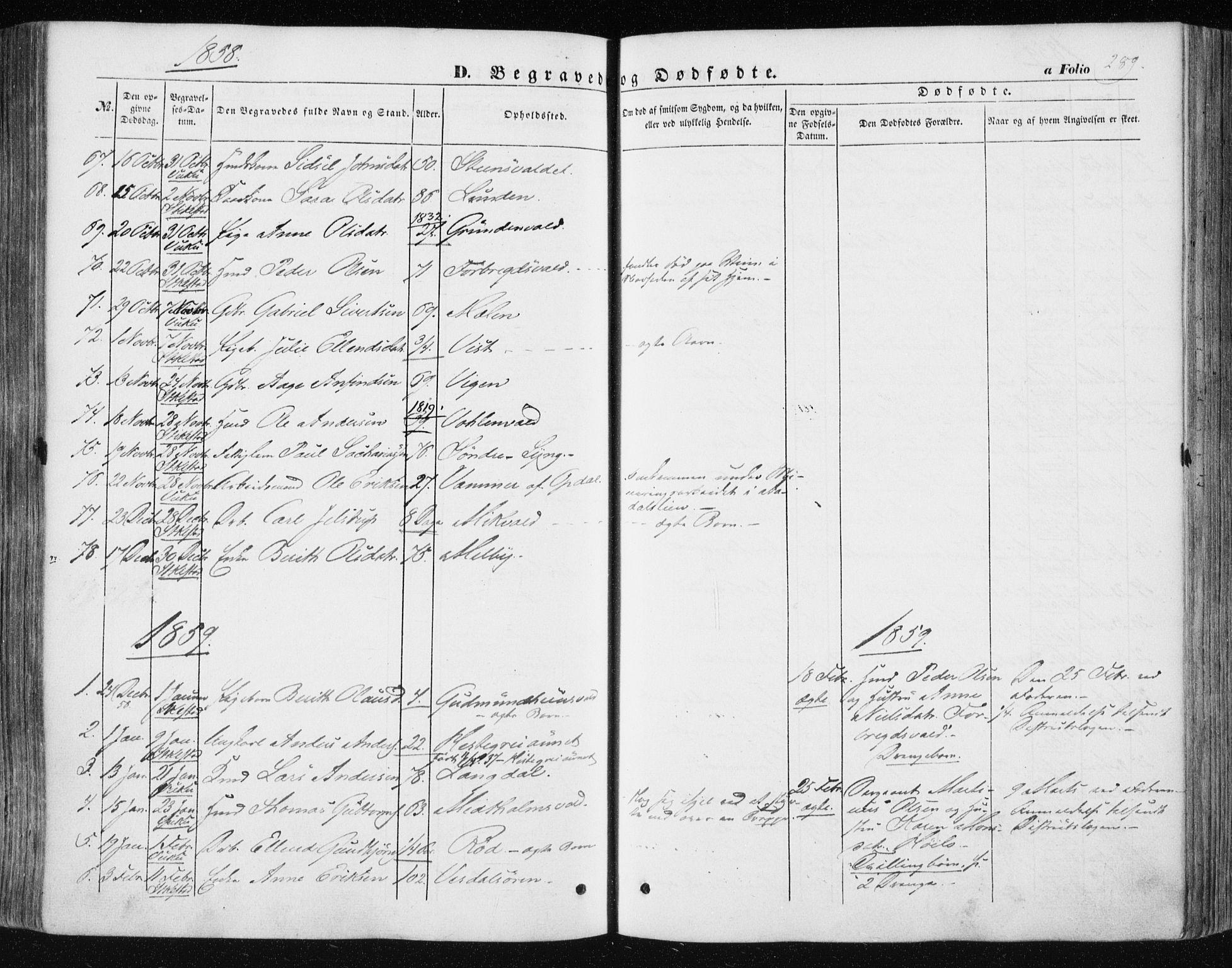 SAT, Ministerialprotokoller, klokkerbøker og fødselsregistre - Nord-Trøndelag, 723/L0240: Ministerialbok nr. 723A09, 1852-1860, s. 289