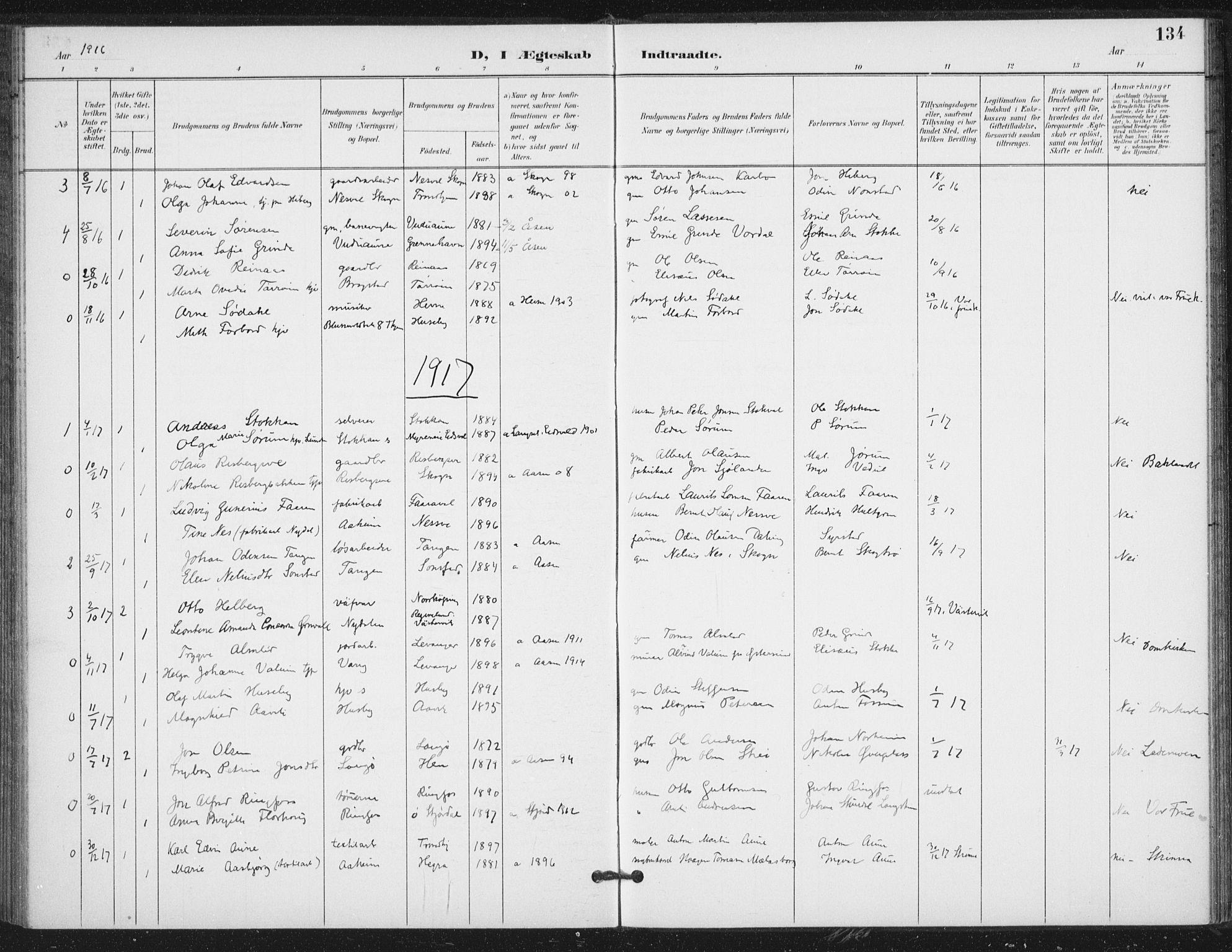 SAT, Ministerialprotokoller, klokkerbøker og fødselsregistre - Nord-Trøndelag, 714/L0131: Ministerialbok nr. 714A02, 1896-1918, s. 134