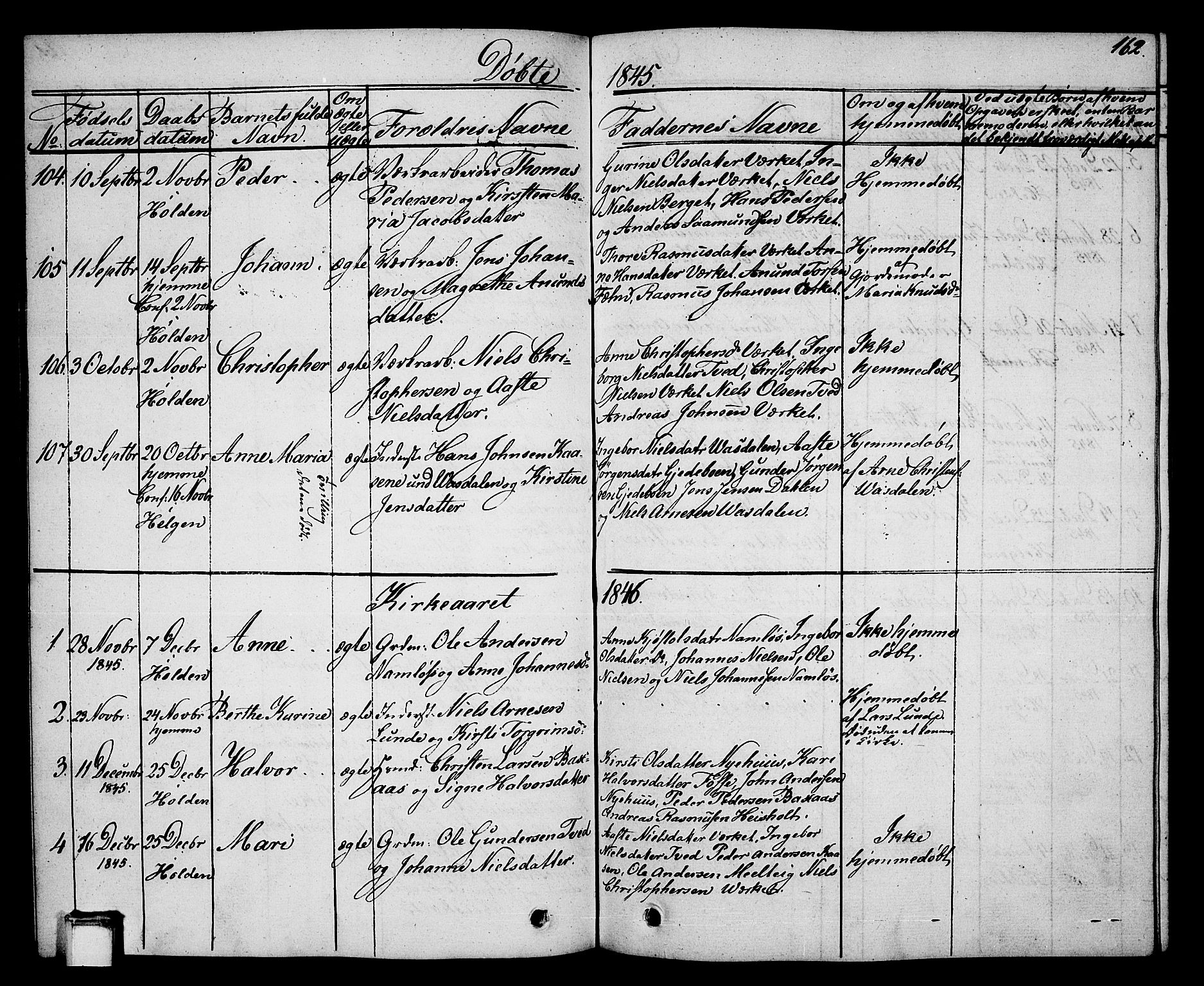 SAKO, Holla kirkebøker, G/Ga/L0002: Klokkerbok nr. I 2, 1830-1848, s. 162