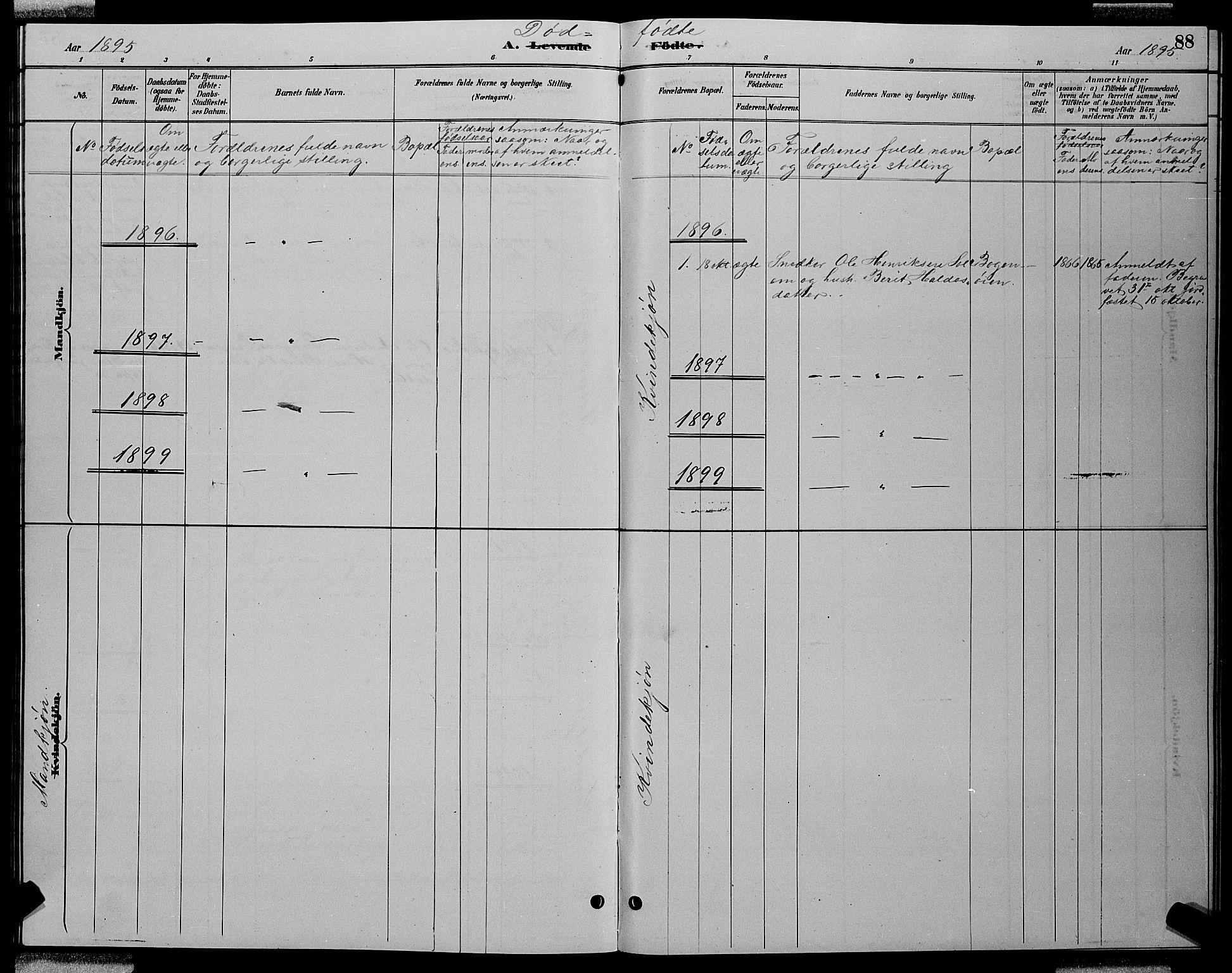 SAT, Ministerialprotokoller, klokkerbøker og fødselsregistre - Sør-Trøndelag, 688/L1028: Klokkerbok nr. 688C03, 1889-1899, s. 88