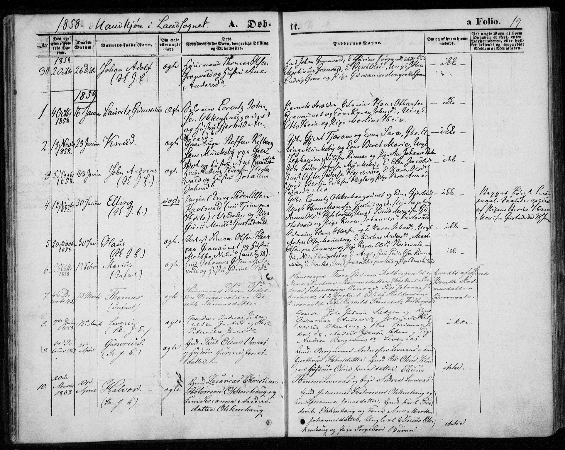 SAT, Ministerialprotokoller, klokkerbøker og fødselsregistre - Nord-Trøndelag, 720/L0184: Ministerialbok nr. 720A02 /2, 1855-1863, s. 19