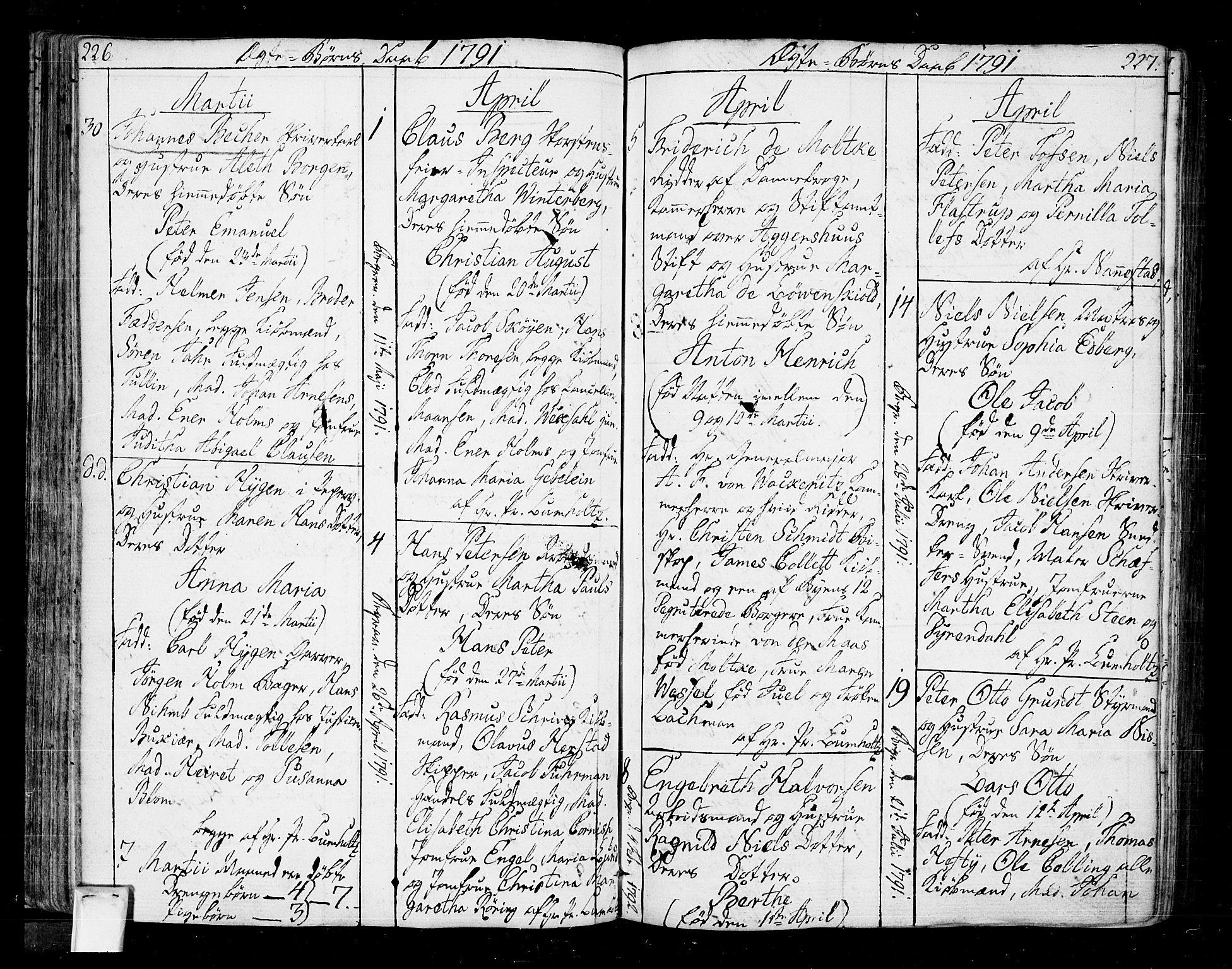 SAO, Oslo domkirke Kirkebøker, F/Fa/L0005: Ministerialbok nr. 5, 1787-1806, s. 226-227