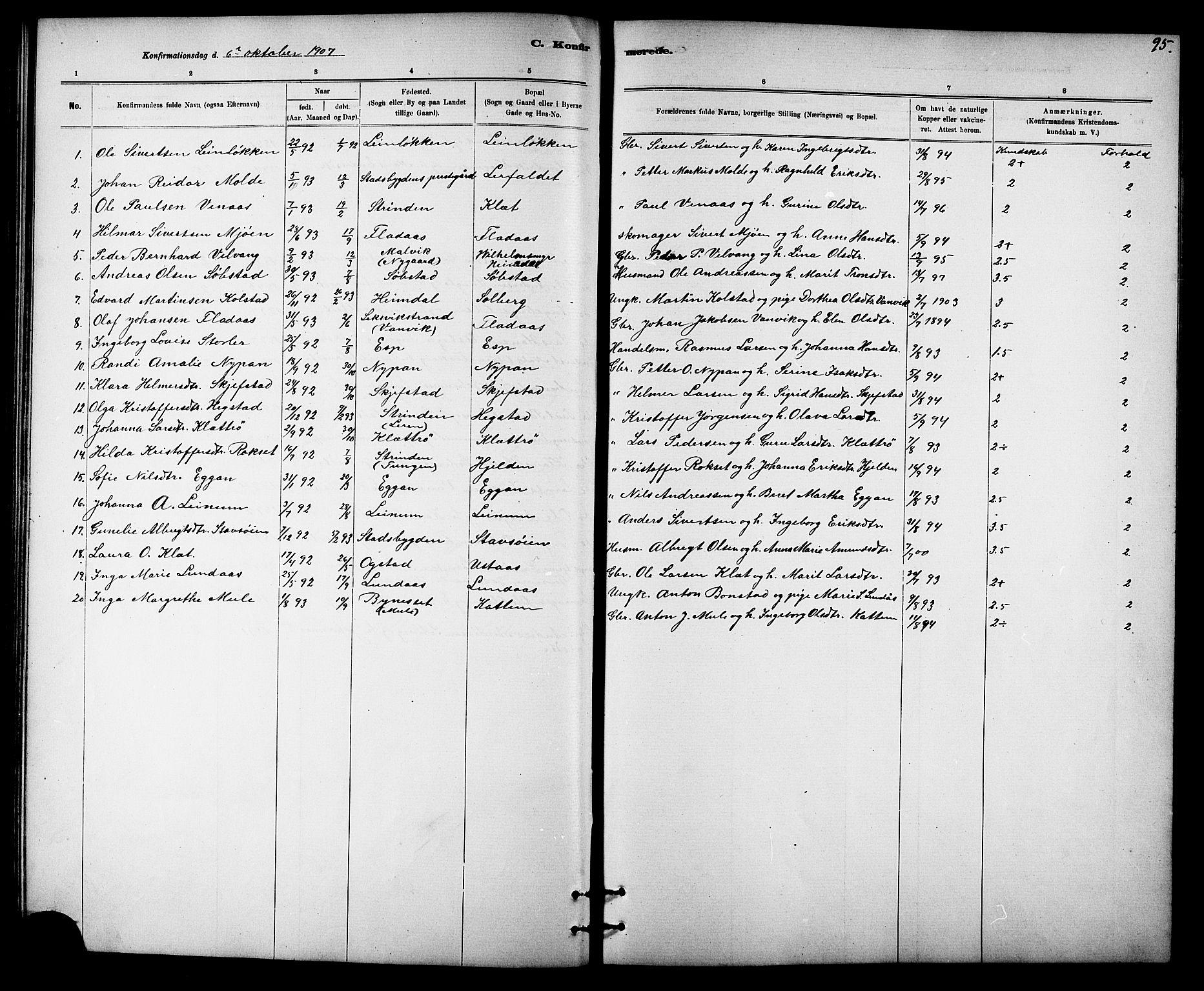 SAT, Ministerialprotokoller, klokkerbøker og fødselsregistre - Sør-Trøndelag, 613/L0395: Klokkerbok nr. 613C03, 1887-1909, s. 95