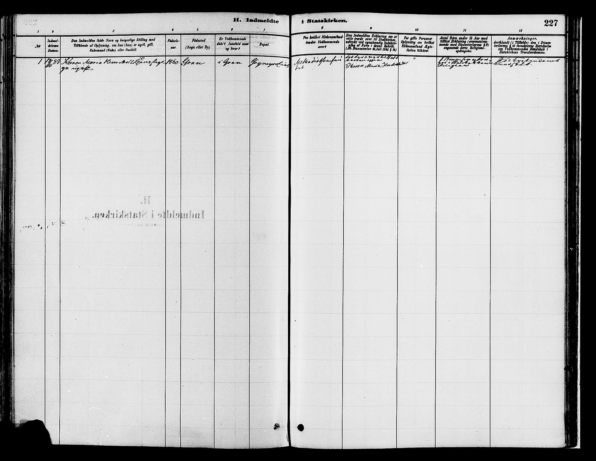SAH, Gran prestekontor, Ministerialbok nr. 14, 1880-1889, s. 227