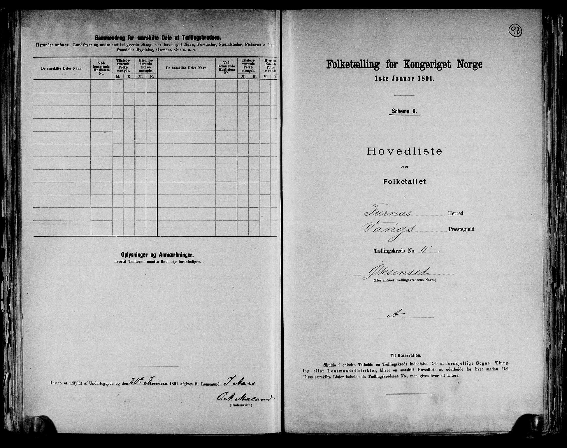 RA, Folketelling 1891 for 0413 Furnes herred, 1891, s. 14