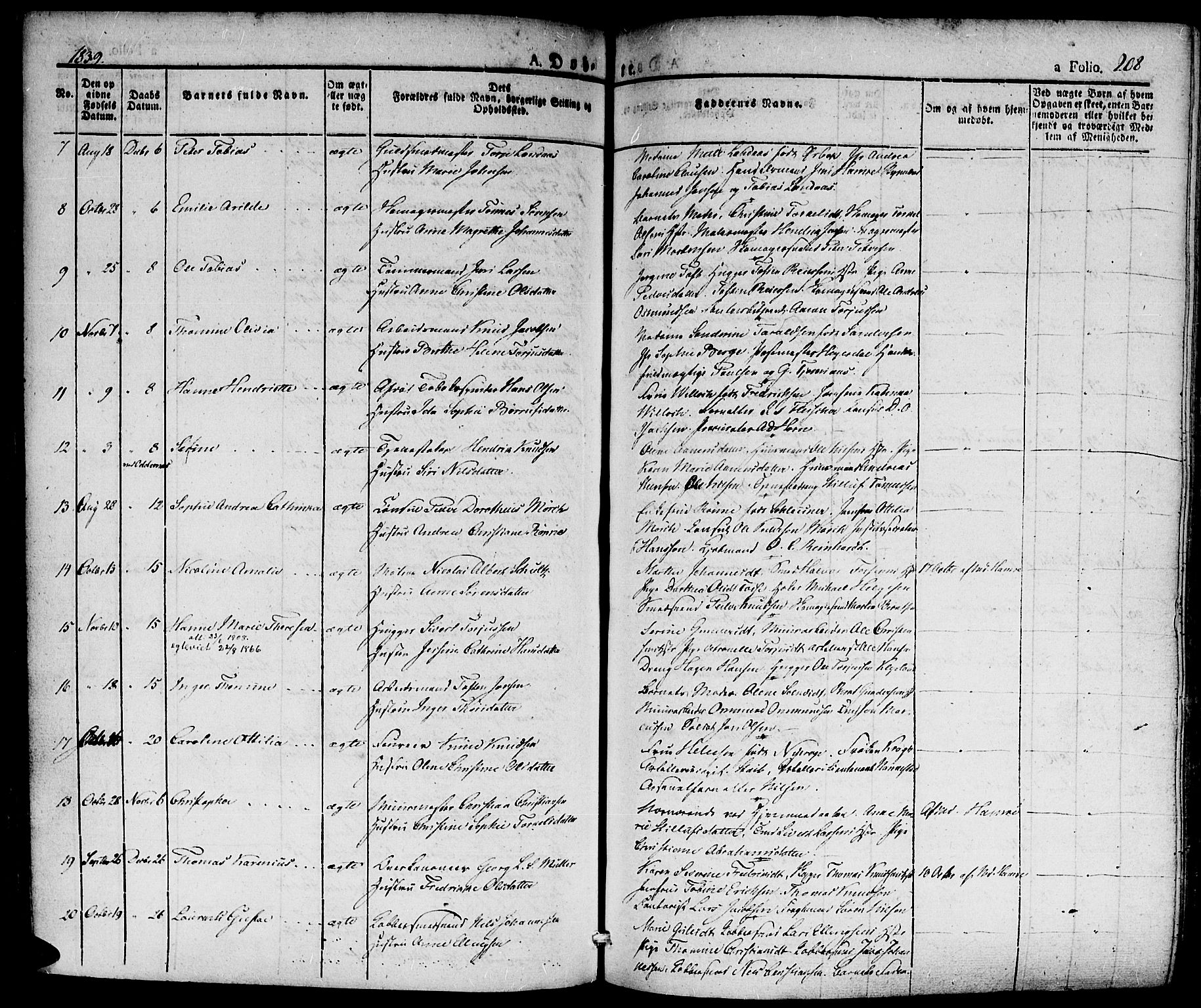 SAK, Kristiansand domprosti, F/Fa/L0011: Ministerialbok nr. A 11, 1827-1841, s. 208