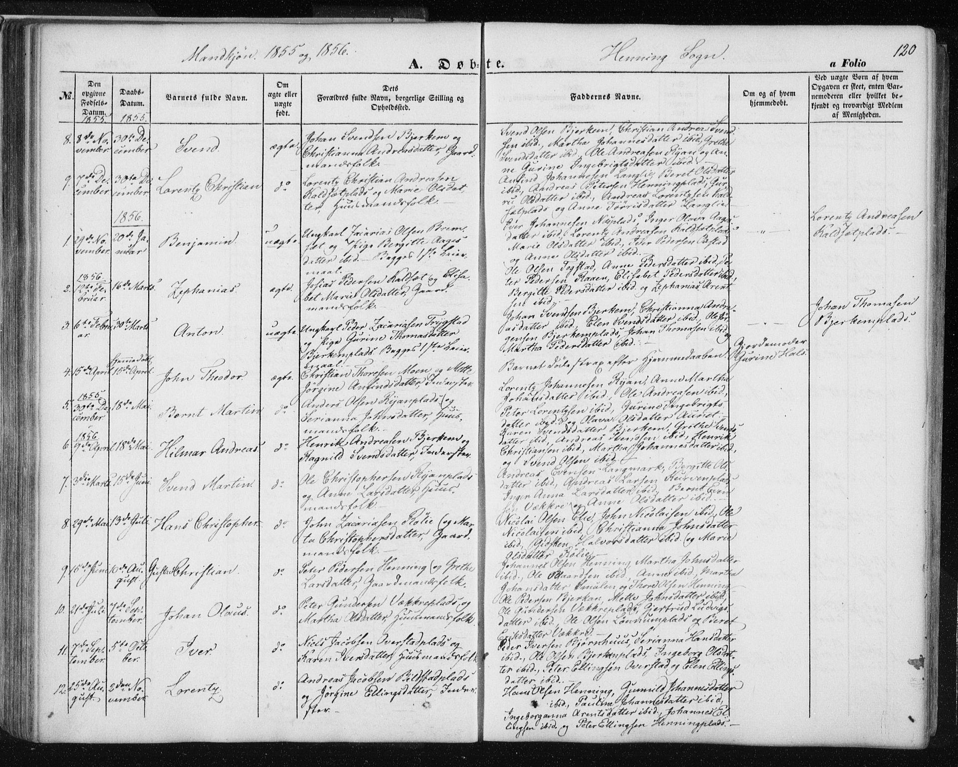 SAT, Ministerialprotokoller, klokkerbøker og fødselsregistre - Nord-Trøndelag, 735/L0342: Ministerialbok nr. 735A07 /3, 1849-1862, s. 120