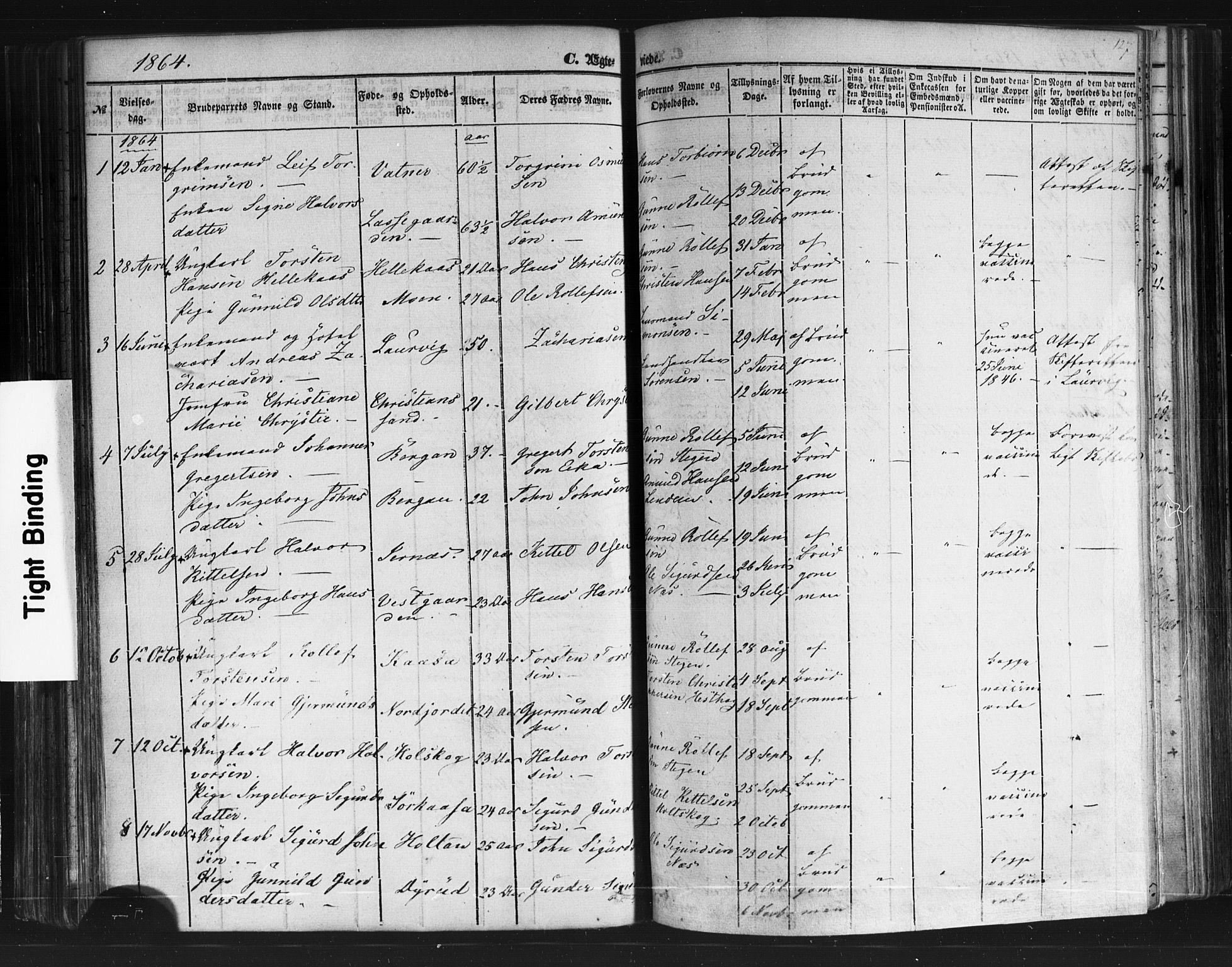 SAKO, Sauherad kirkebøker, F/Fb/L0001: Ministerialbok nr. II 1, 1851-1877, s. 127