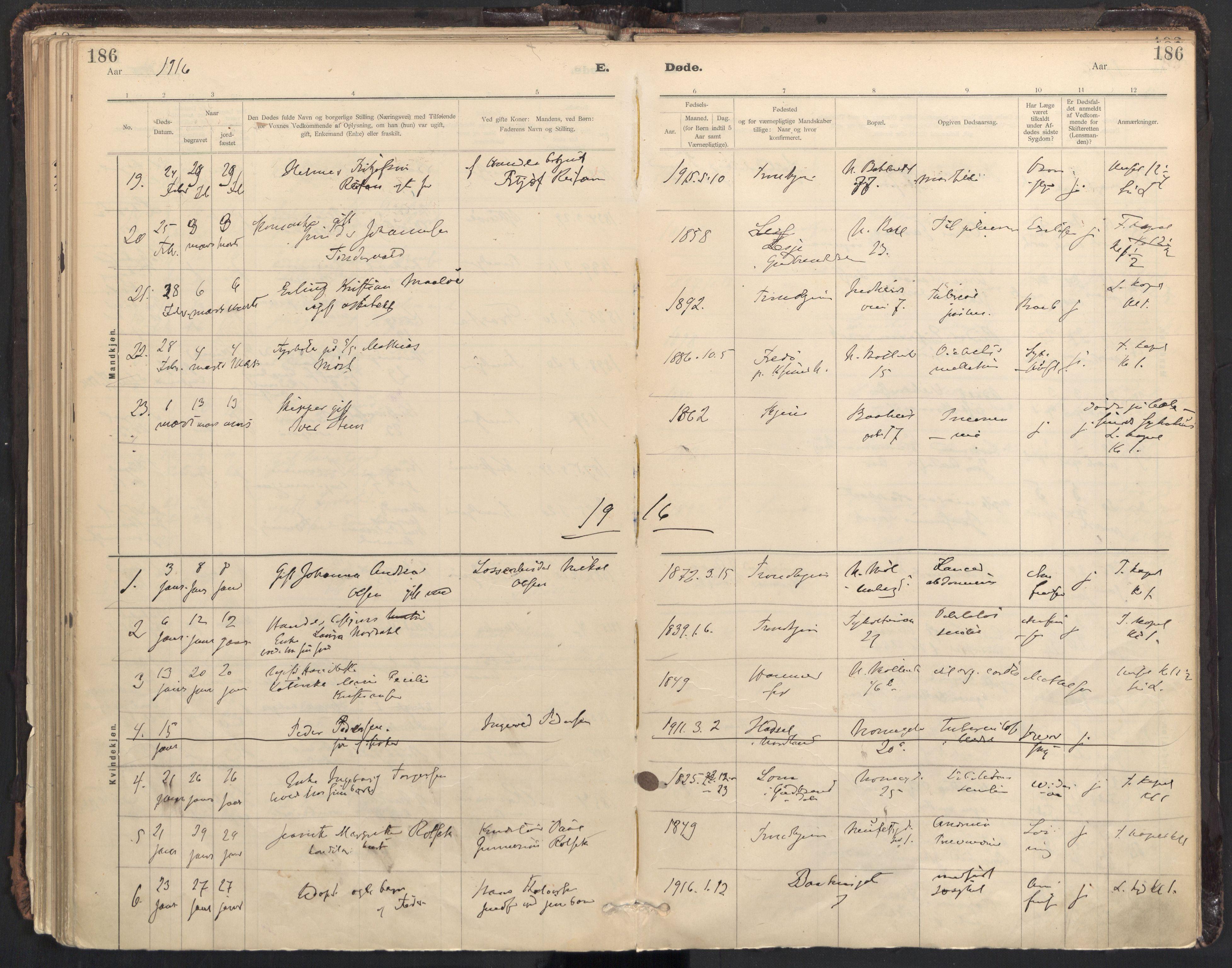 SAT, Ministerialprotokoller, klokkerbøker og fødselsregistre - Sør-Trøndelag, 604/L0204: Ministerialbok nr. 604A24, 1911-1920, s. 186
