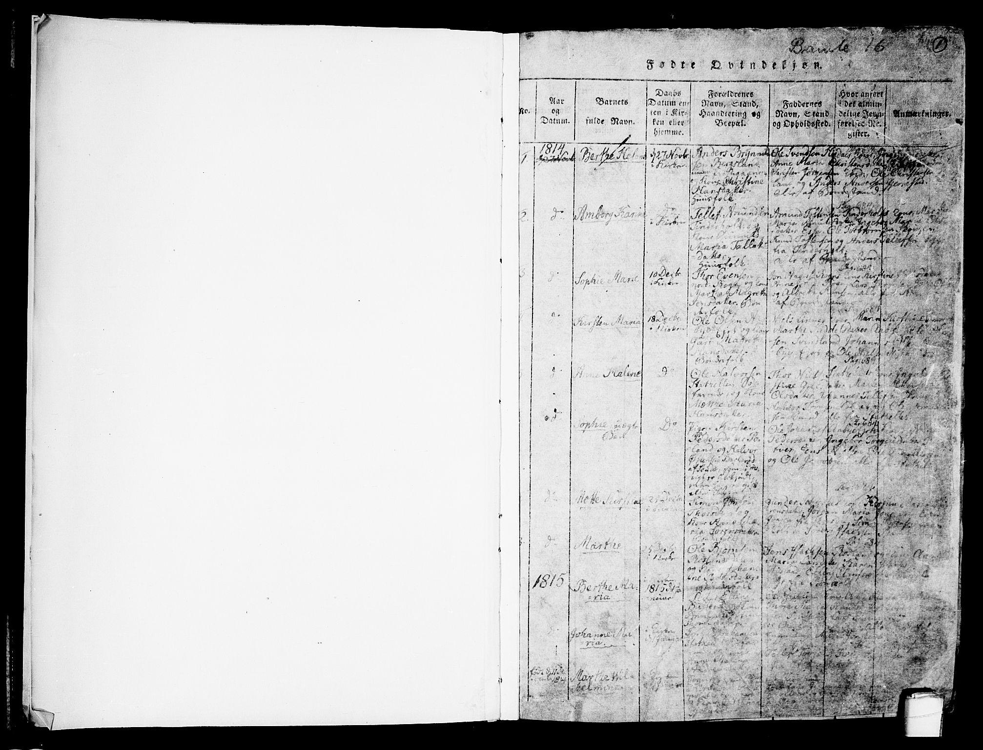 SAKO, Bamble kirkebøker, F/Fa/L0003: Ministerialbok nr. I 3 /1, 1814-1834, s. 1