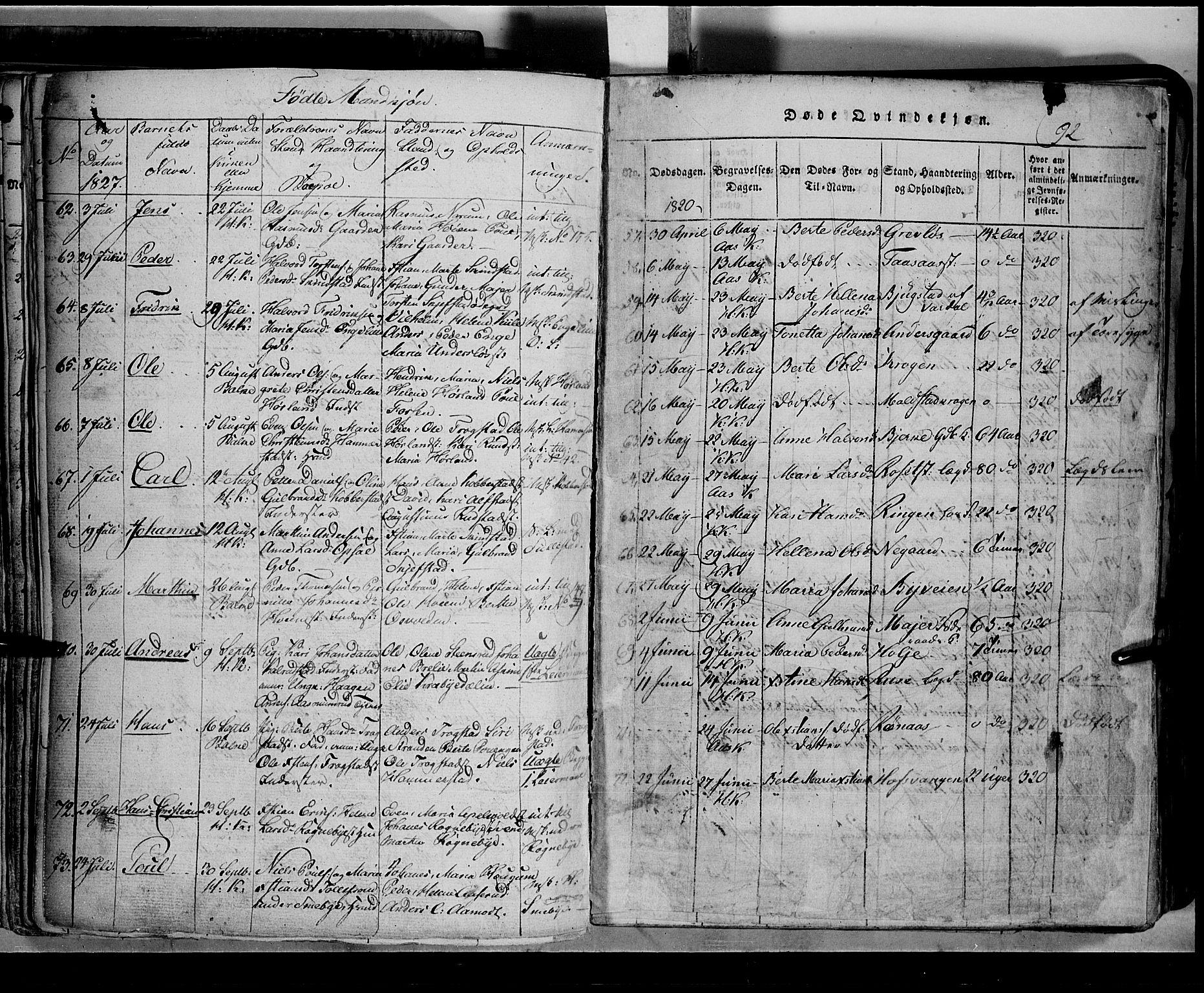 SAH, Toten prestekontor, Klokkerbok nr. 2, 1820-1827, s. 92b
