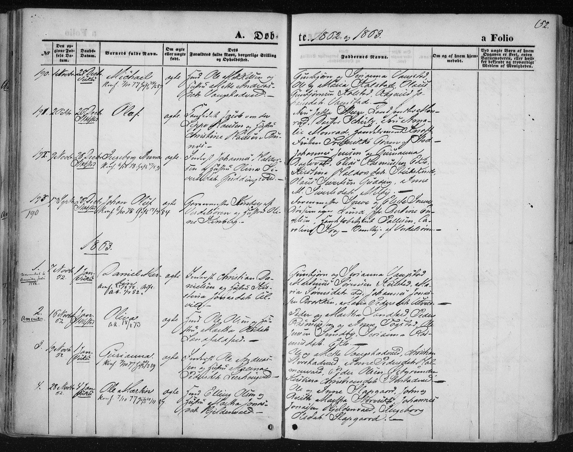 SAT, Ministerialprotokoller, klokkerbøker og fødselsregistre - Nord-Trøndelag, 723/L0241: Ministerialbok nr. 723A10, 1860-1869, s. 52