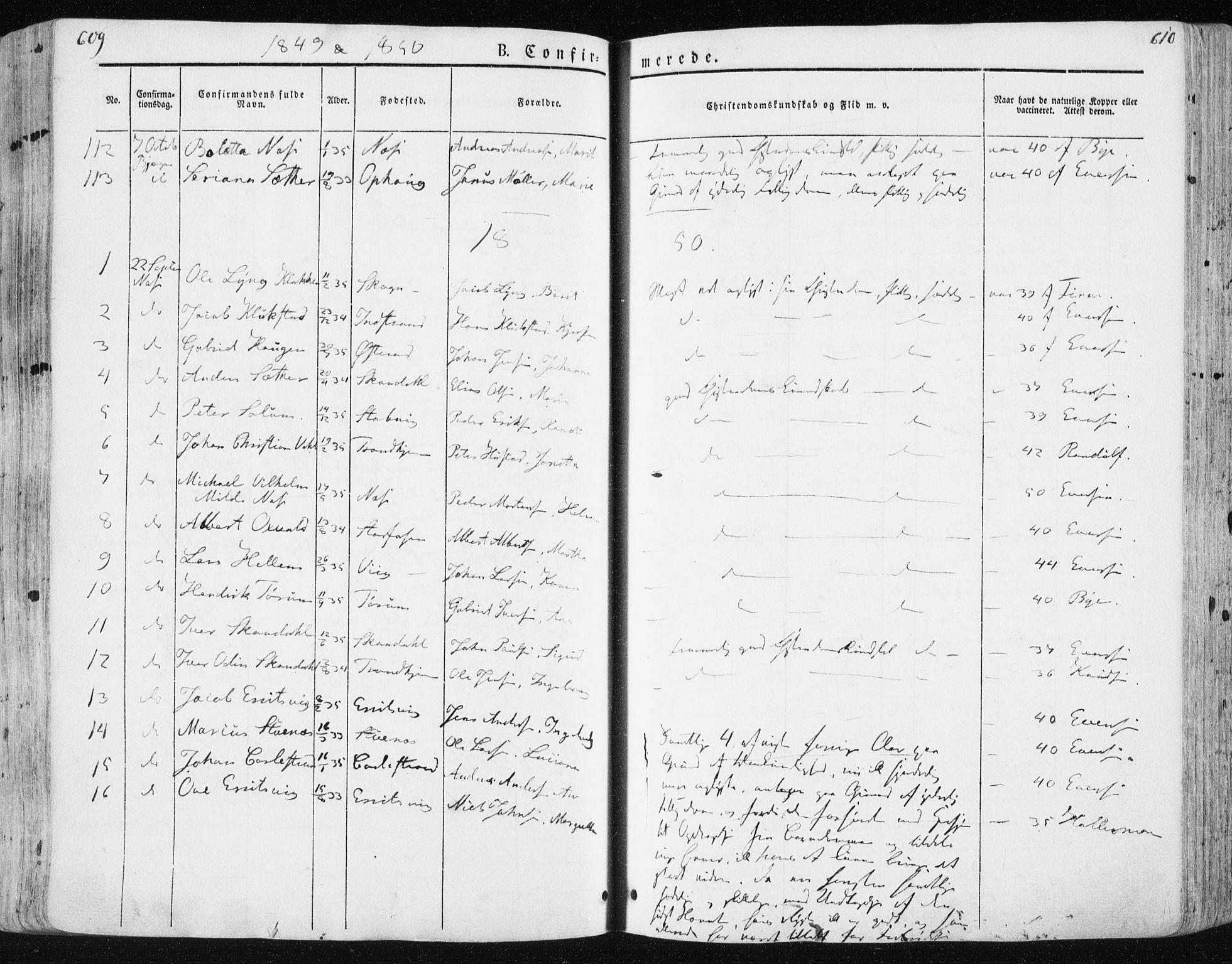 SAT, Ministerialprotokoller, klokkerbøker og fødselsregistre - Sør-Trøndelag, 659/L0736: Ministerialbok nr. 659A06, 1842-1856, s. 609-610