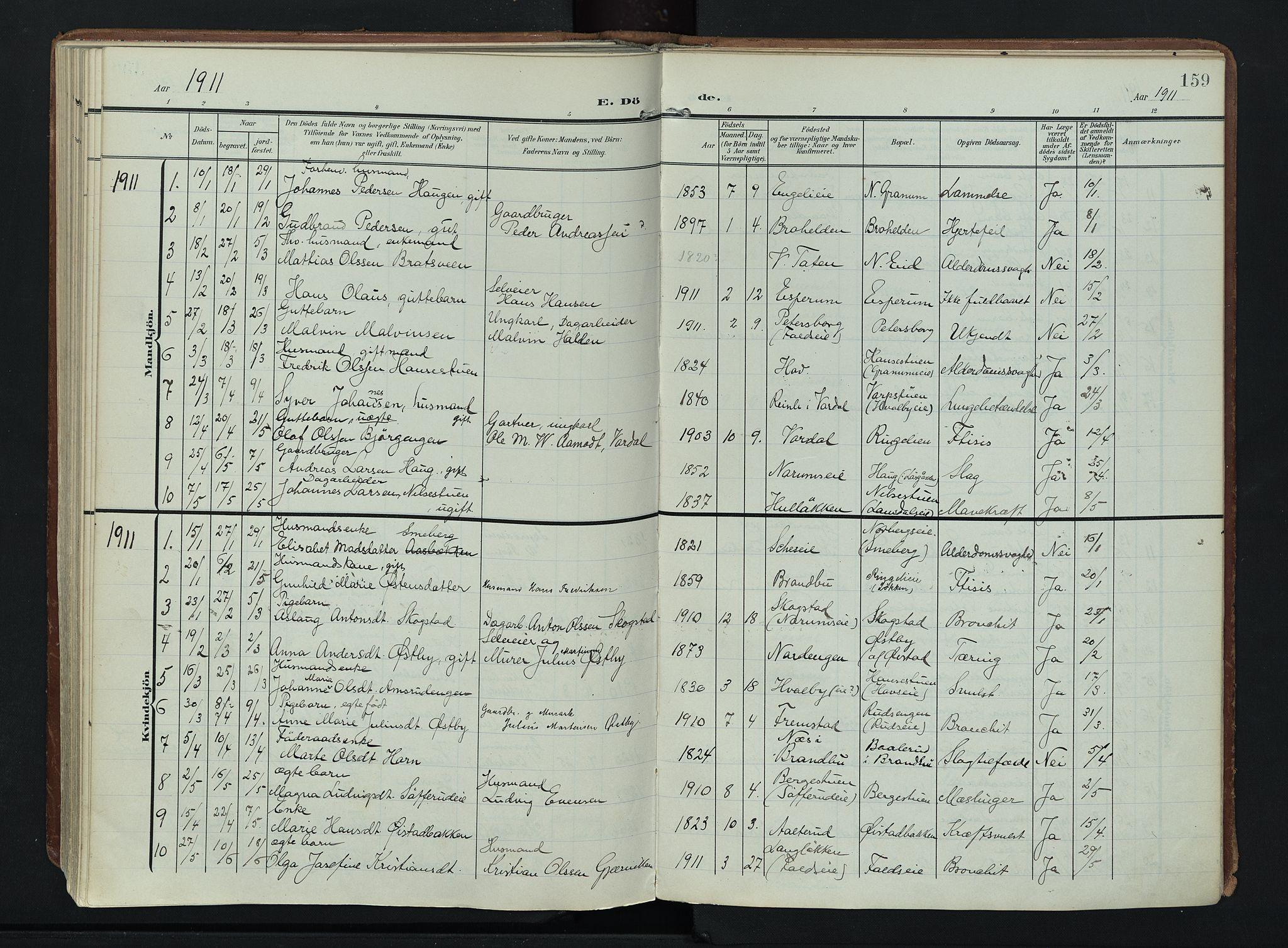 SAH, Søndre Land prestekontor, K/L0007: Ministerialbok nr. 7, 1905-1914, s. 159
