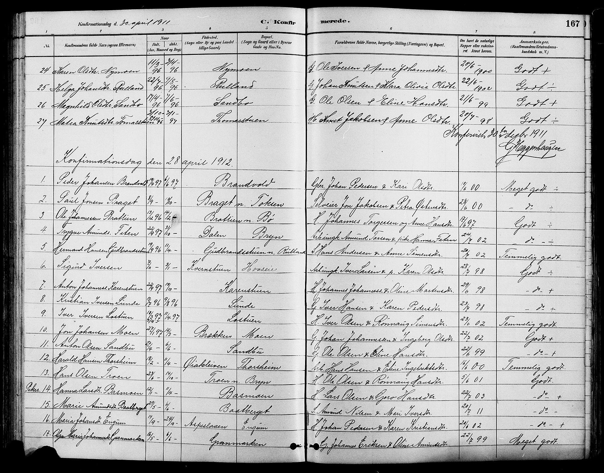 SAH, Nord-Fron prestekontor, Klokkerbok nr. 4, 1884-1914, s. 167