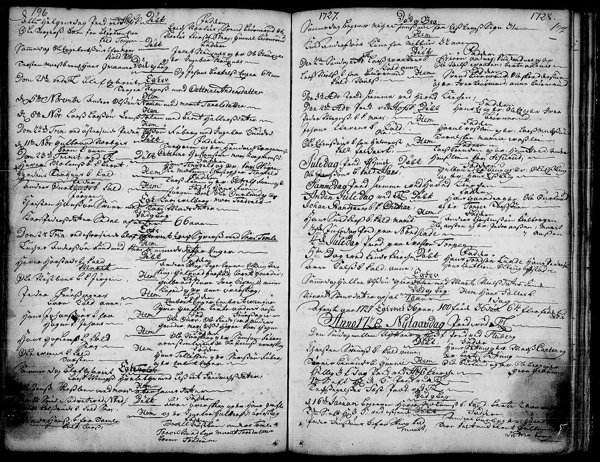 SAH, Land prestekontor, Ministerialbok nr. 1, 1708-1732, s. 196-197