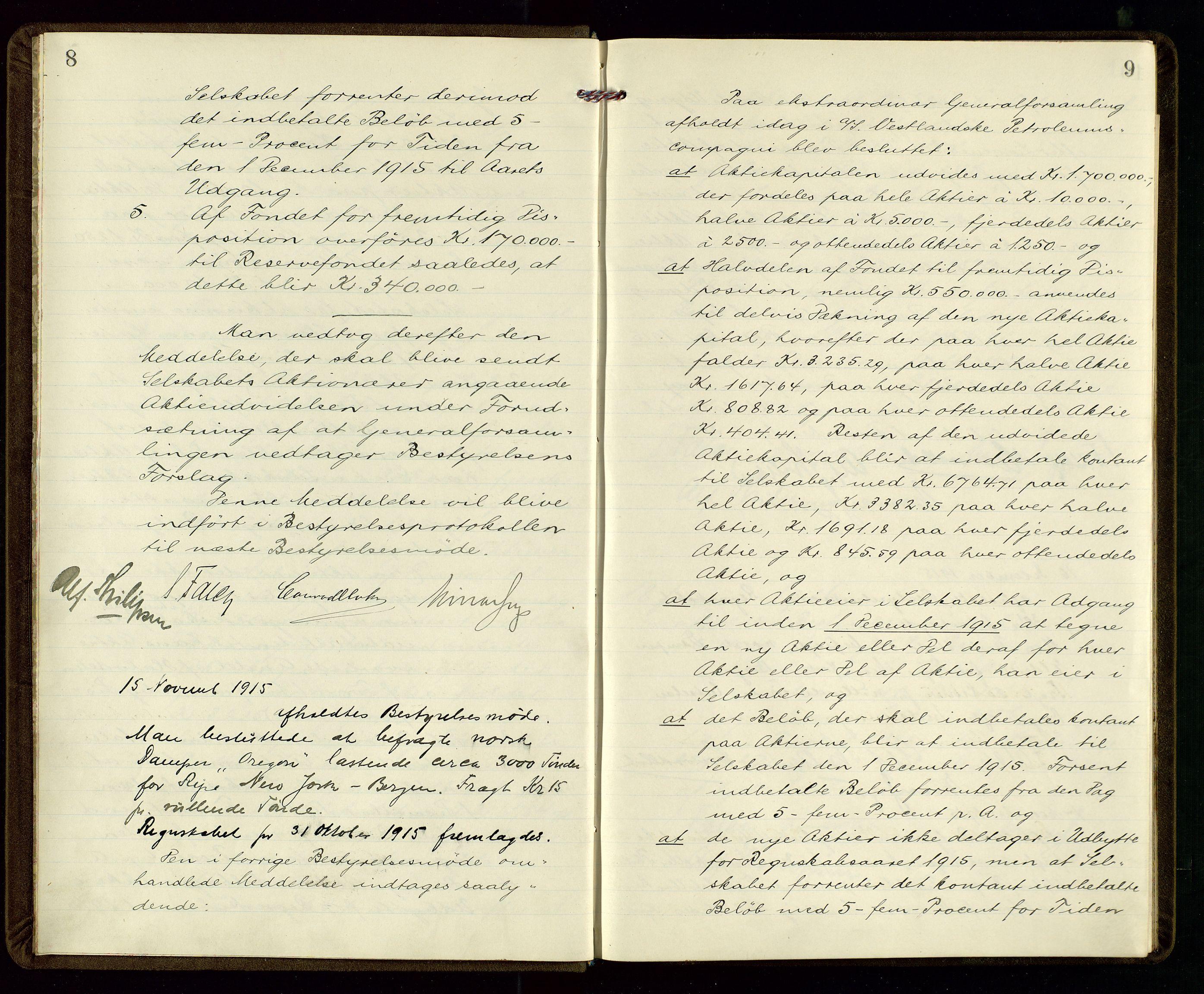 SAST, PA 1533 - A/S Vestlandske Petroleumscompani, A/Aa/L0001: Generalforsamlinger og styreprotokoller, 1915-1922, s. 8-9