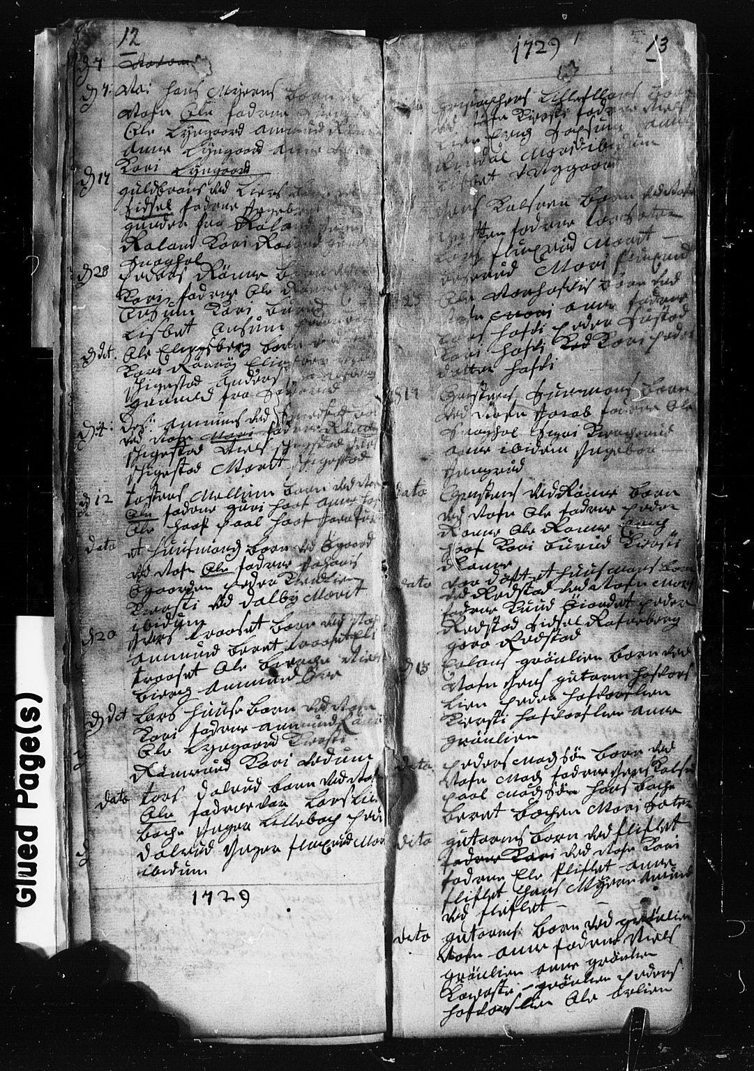SAH, Fåberg prestekontor, Klokkerbok nr. 1, 1727-1767, s. 12-13