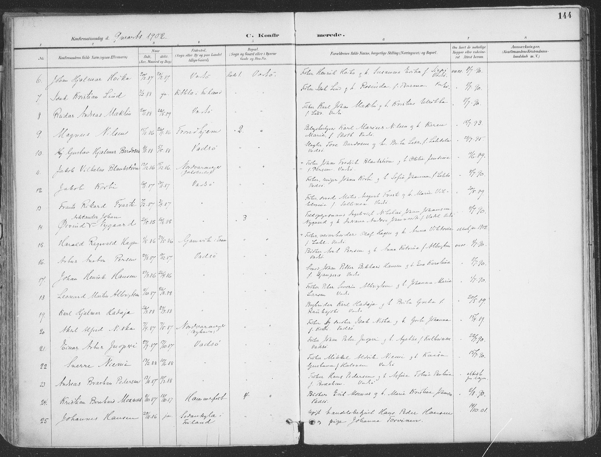 SATØ, Vadsø sokneprestkontor, H/Ha/L0007kirke: Ministerialbok nr. 7, 1896-1916, s. 144