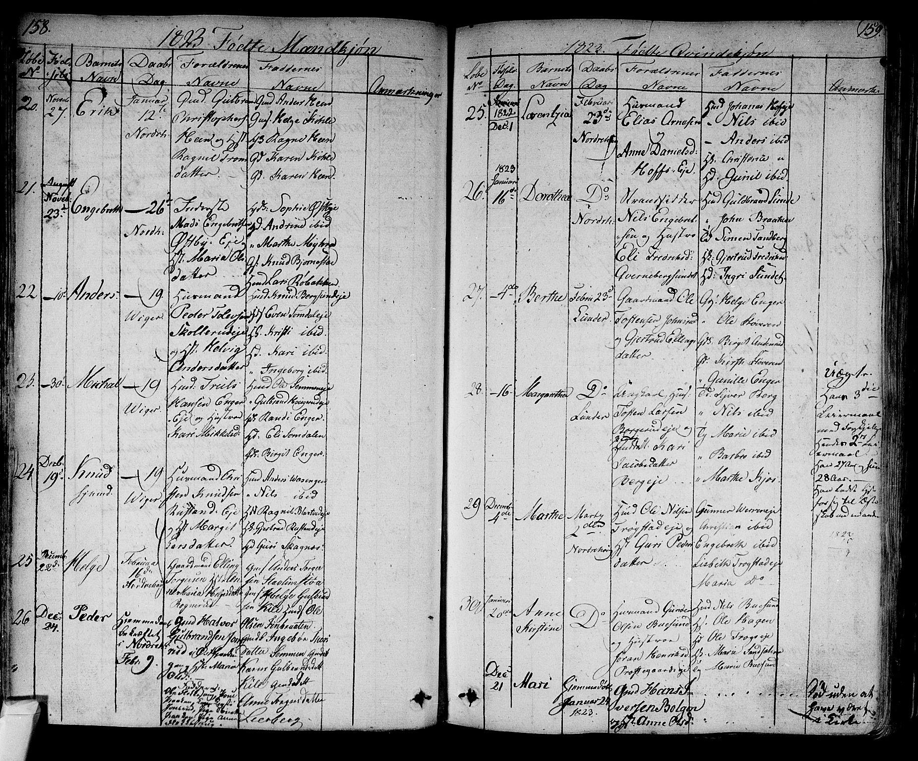 SAKO, Norderhov kirkebøker, F/Fa/L0009: Ministerialbok nr. 9, 1819-1837, s. 158-159