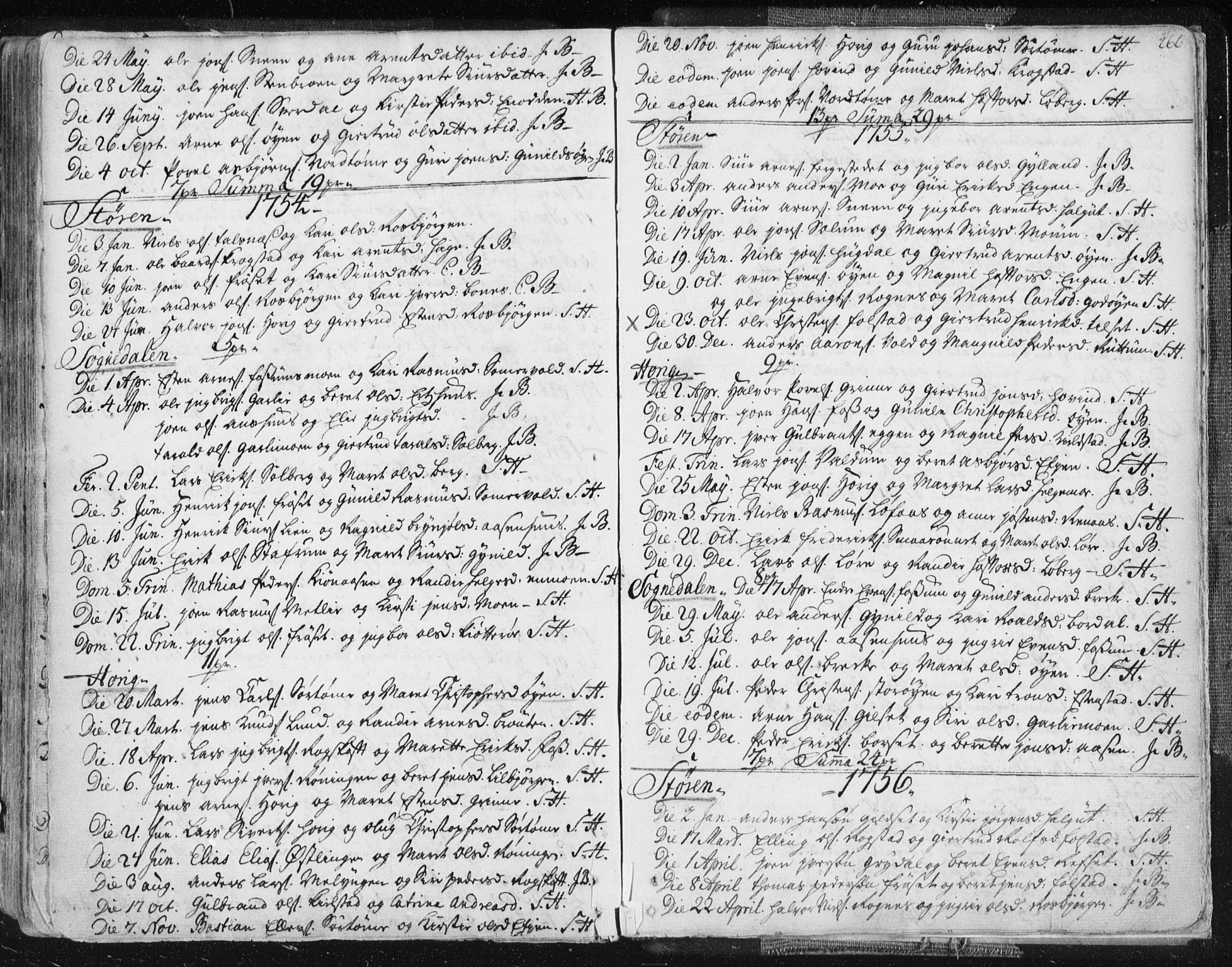 SAT, Ministerialprotokoller, klokkerbøker og fødselsregistre - Sør-Trøndelag, 687/L0991: Ministerialbok nr. 687A02, 1747-1790, s. 266